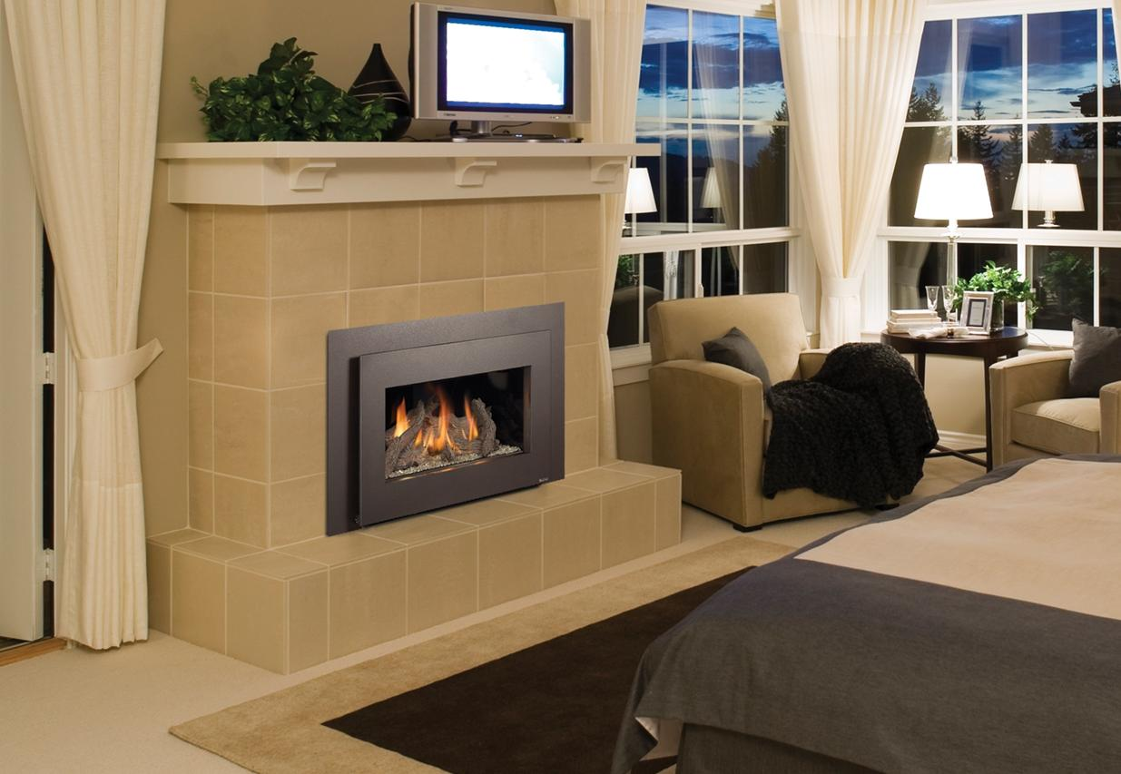 Image of an efficient Gas insert made by FireplaceX featuring a realistic wood logset.
