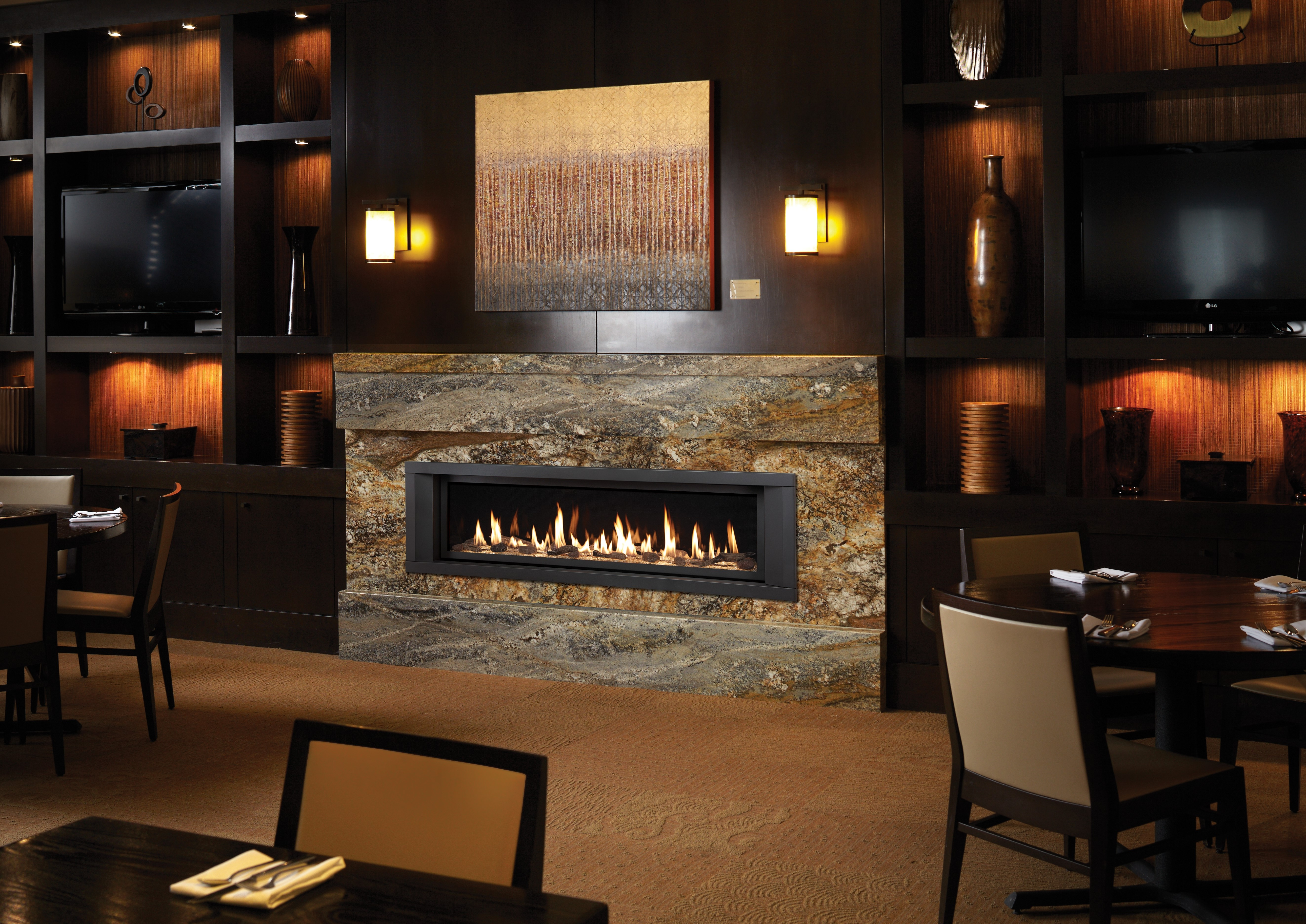 Another Image of the modern 6015 HO gas fireplace made by Fireplace Xtordinair featuring a modern linear design.