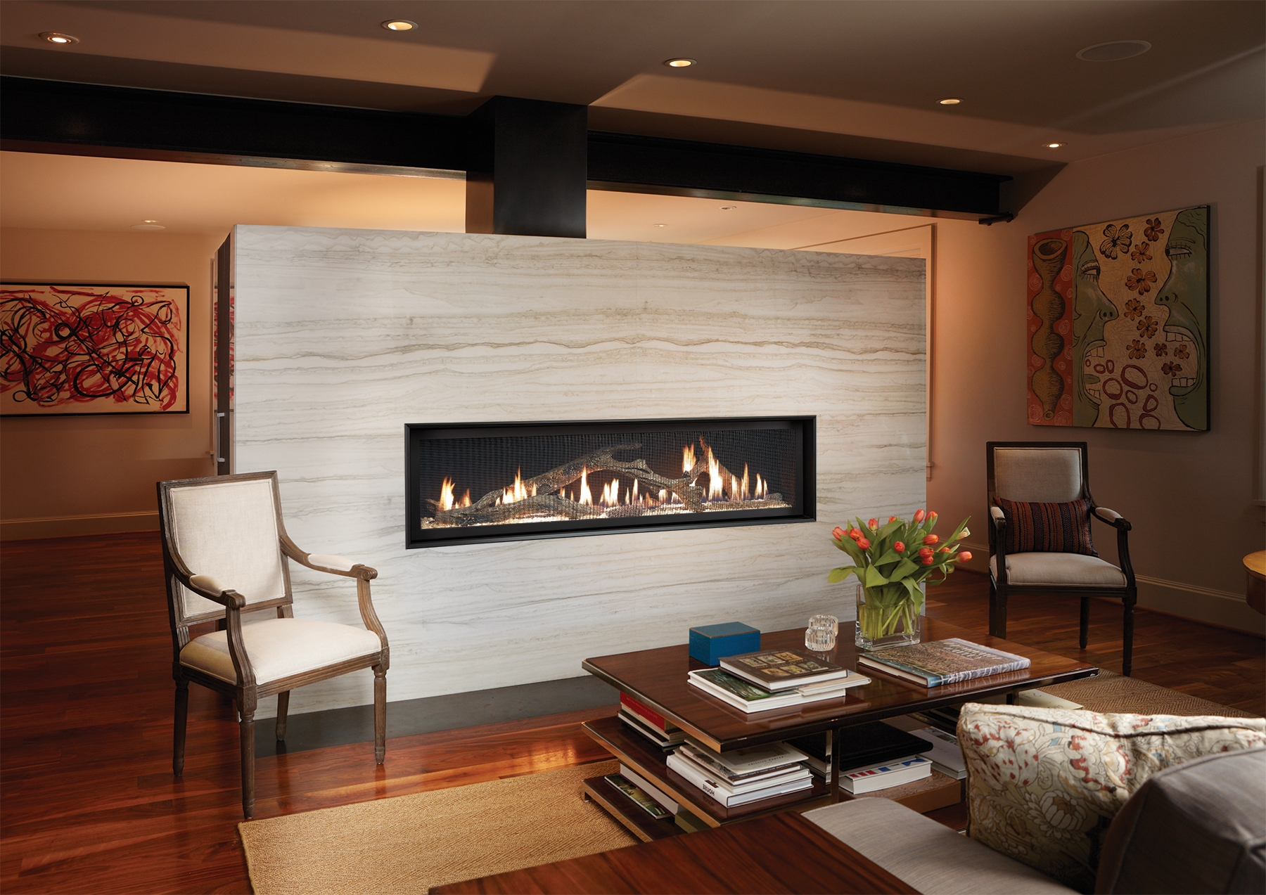 Image of the modern 6015 HO gas fireplace made by Fireplace Xtordinair featuring a modern linear design.