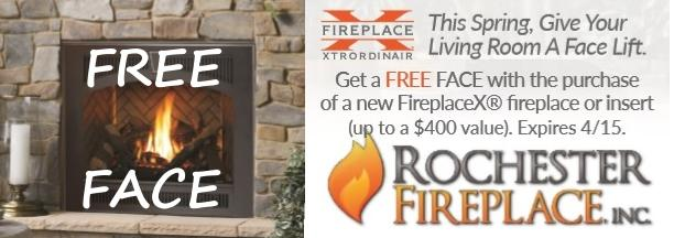 Fireplace Sale! Receive up to $400 credit towards a decorative face with the purchase of a Fireplace Xtrordinair insert or fireplace.