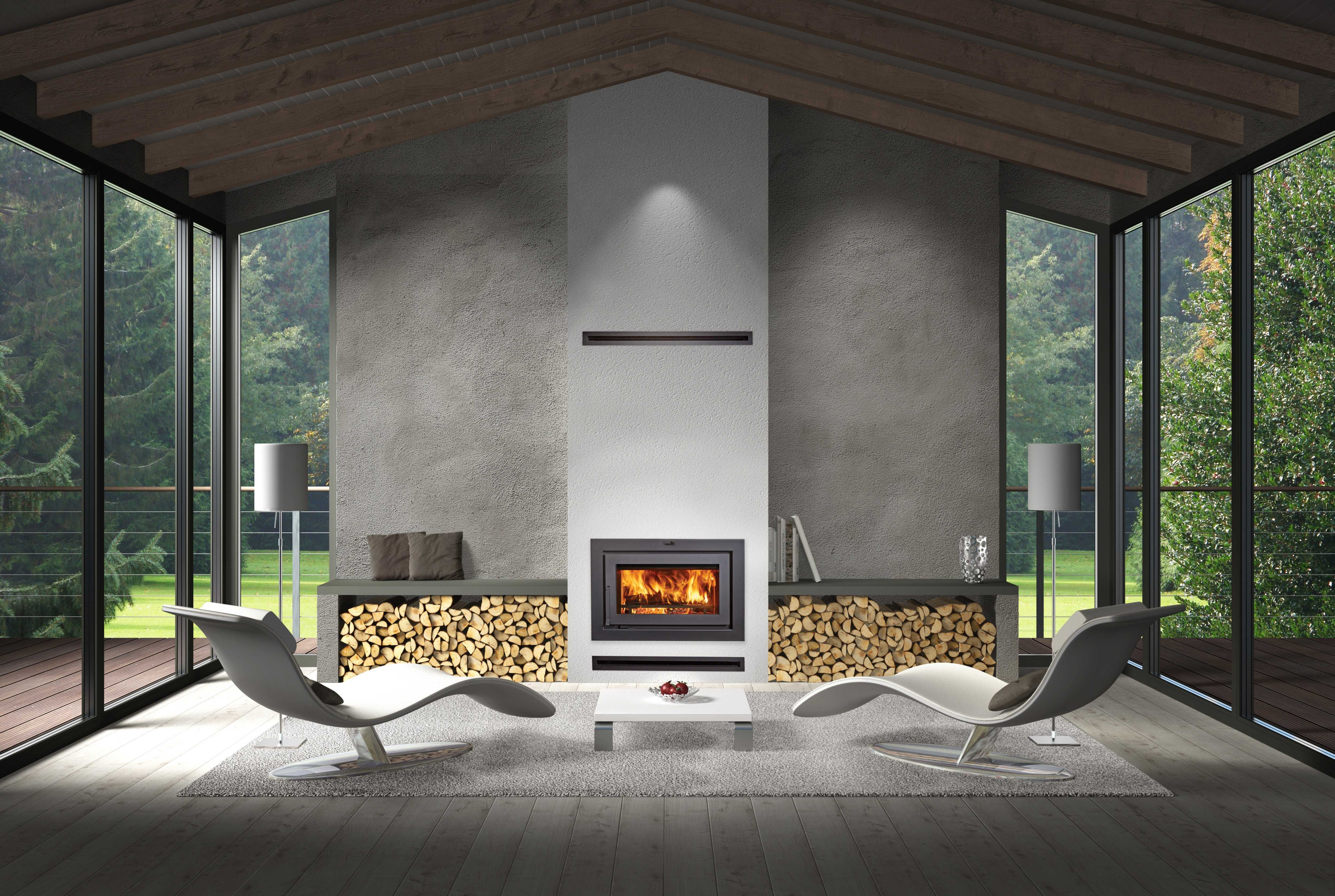 One more Image of the modern modern 42 Apex Clean Face woodburning fireplace featuring a traditional face.