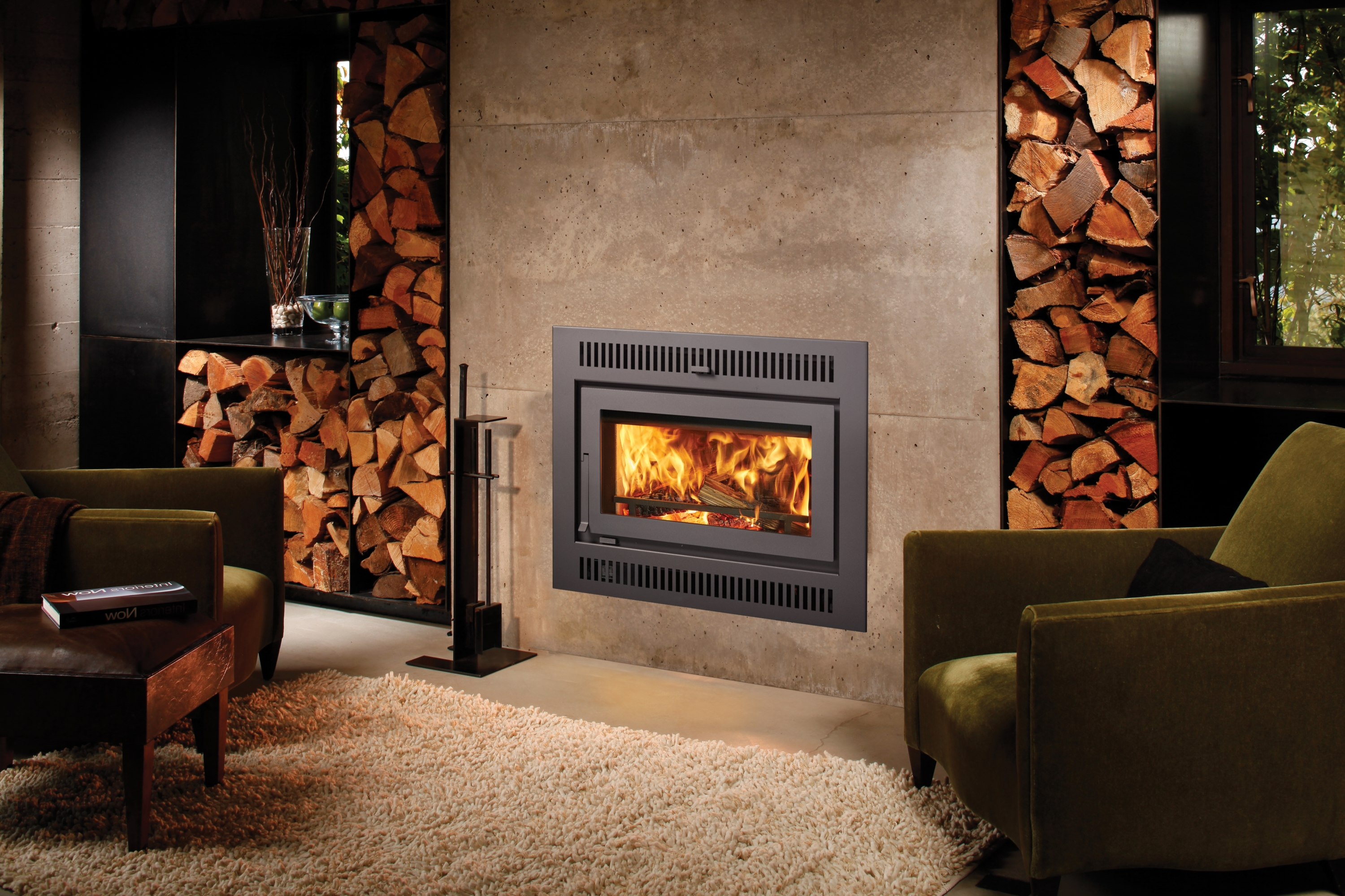 Another Image of the modern modern 42 Apex woodburning fireplace featuring a traditional face.
