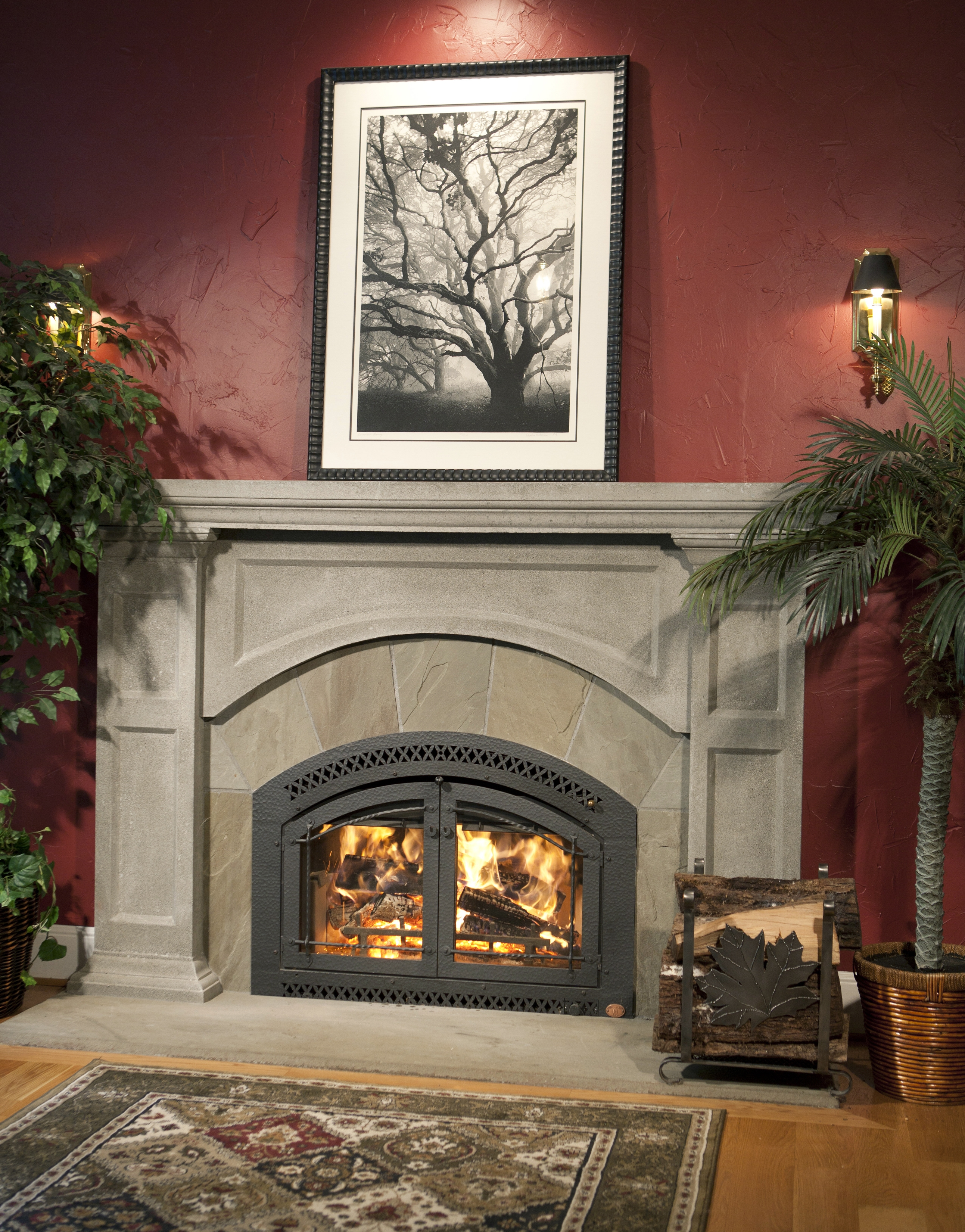 Another Image of the 44 Elite woodburning fireplace featuring a traditional face.