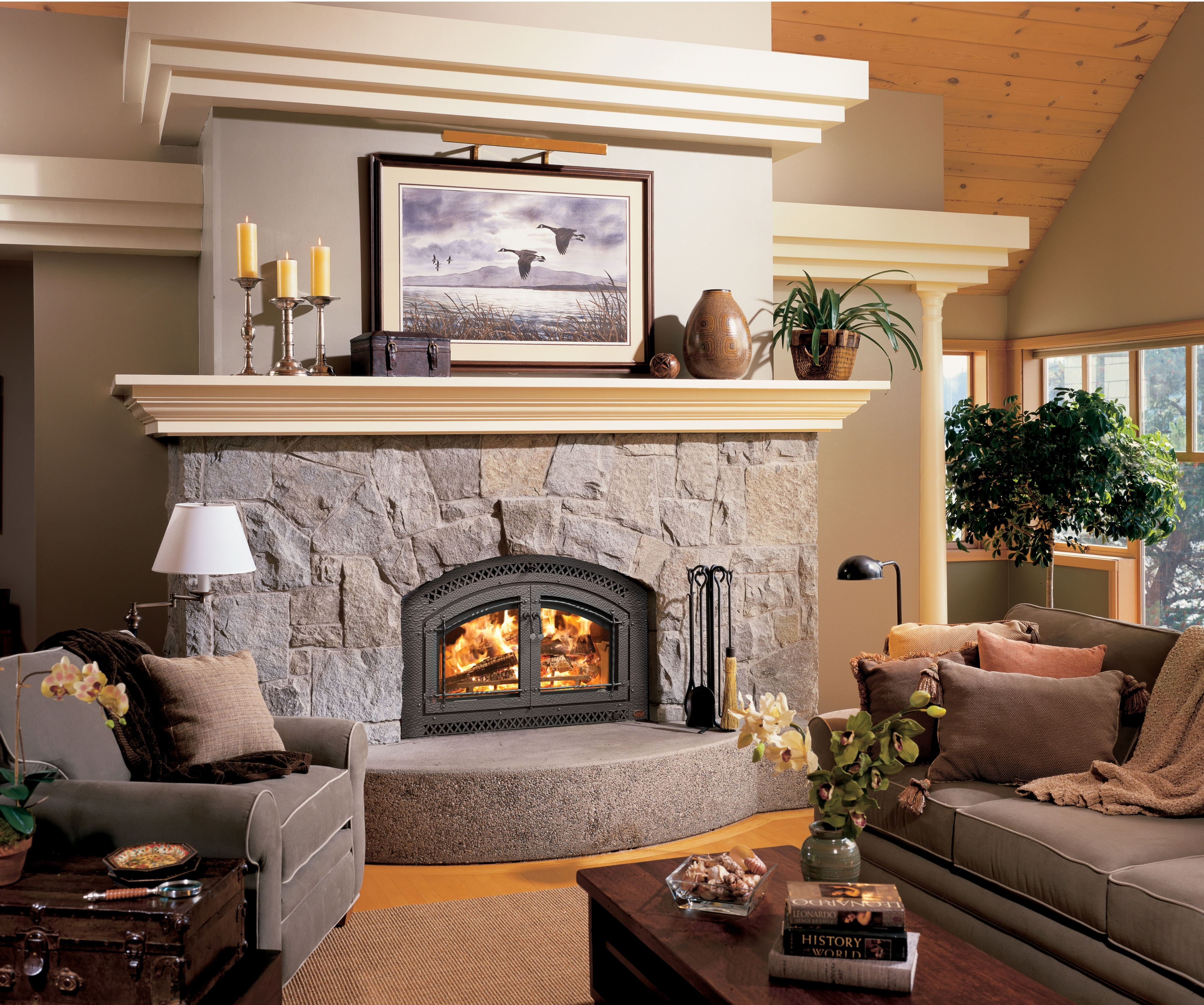 Image of the 44 Elite woodburning fireplace featuring a traditional face.