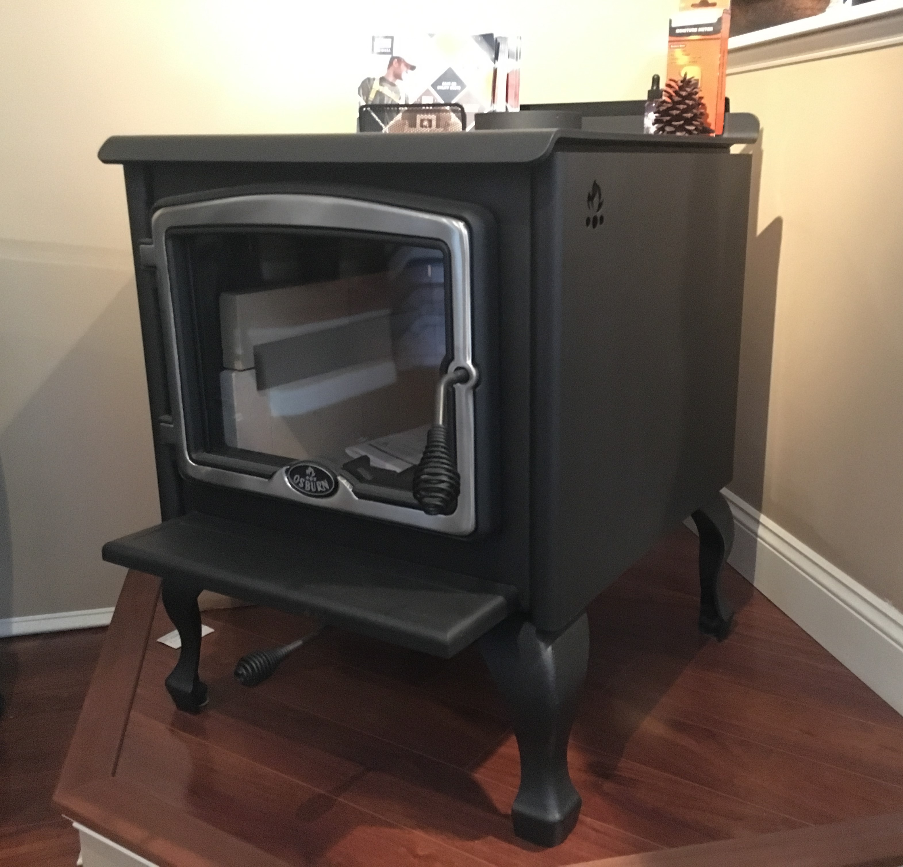 This is an image of a wood stove with Brushed Nickel door by Osburn