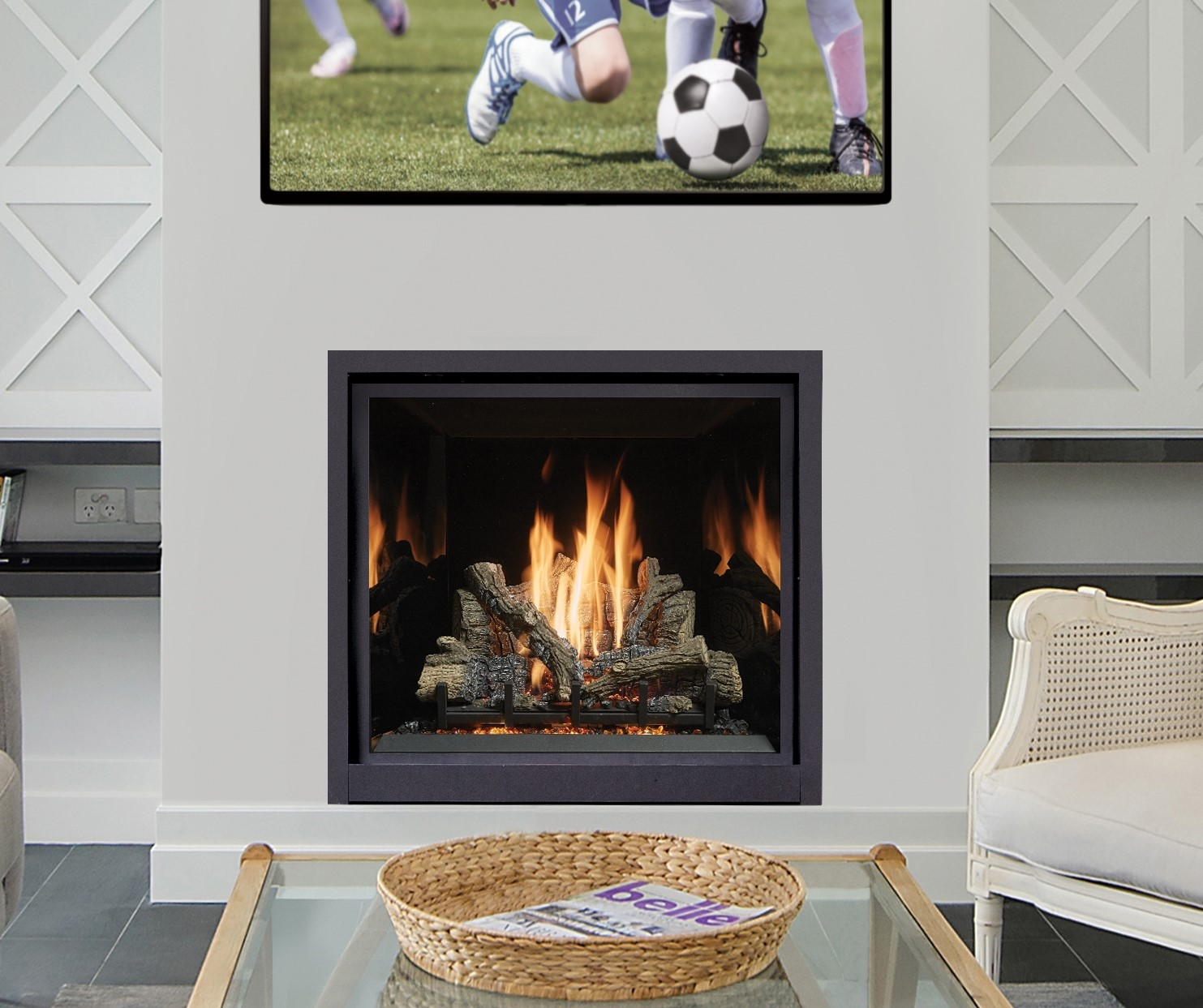 Image of a Travis Industries Gas Fireplaces which links to our Gas Fireplace page.