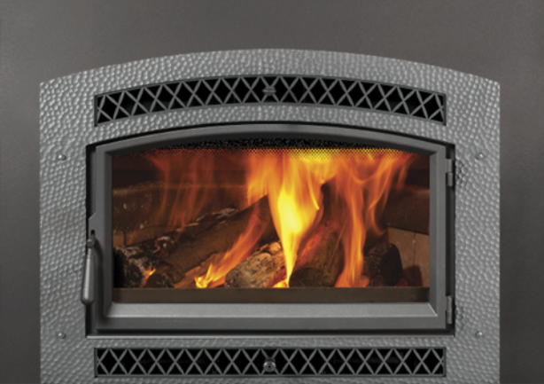 Image of a sleek Large flush Hybrid-Fyre Wood Insert by Fireplace Xtordinair.
