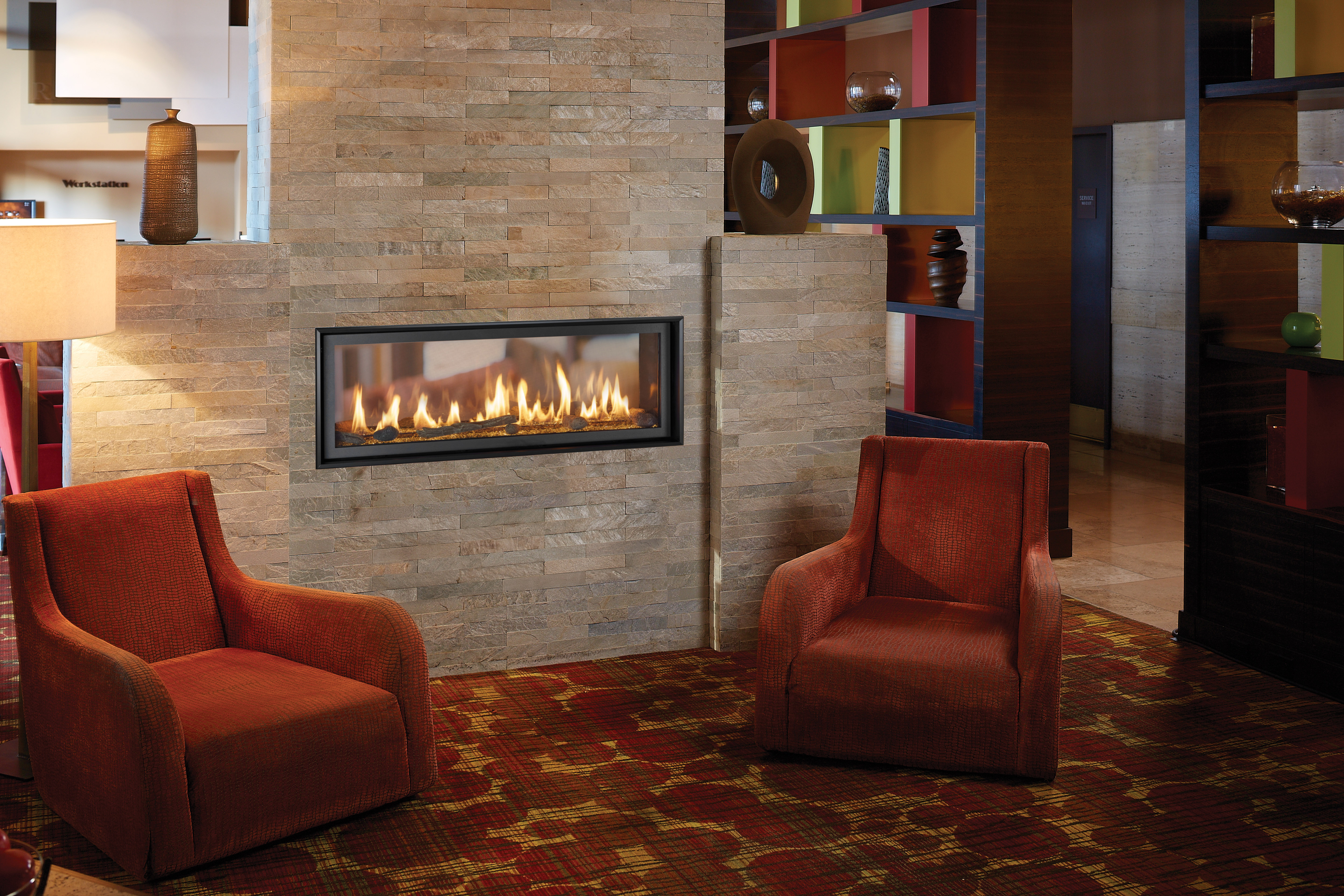 Another Image of the modern 4415 ST gas fireplace made by Fireplace Xtordinair featuring a modern linear design.