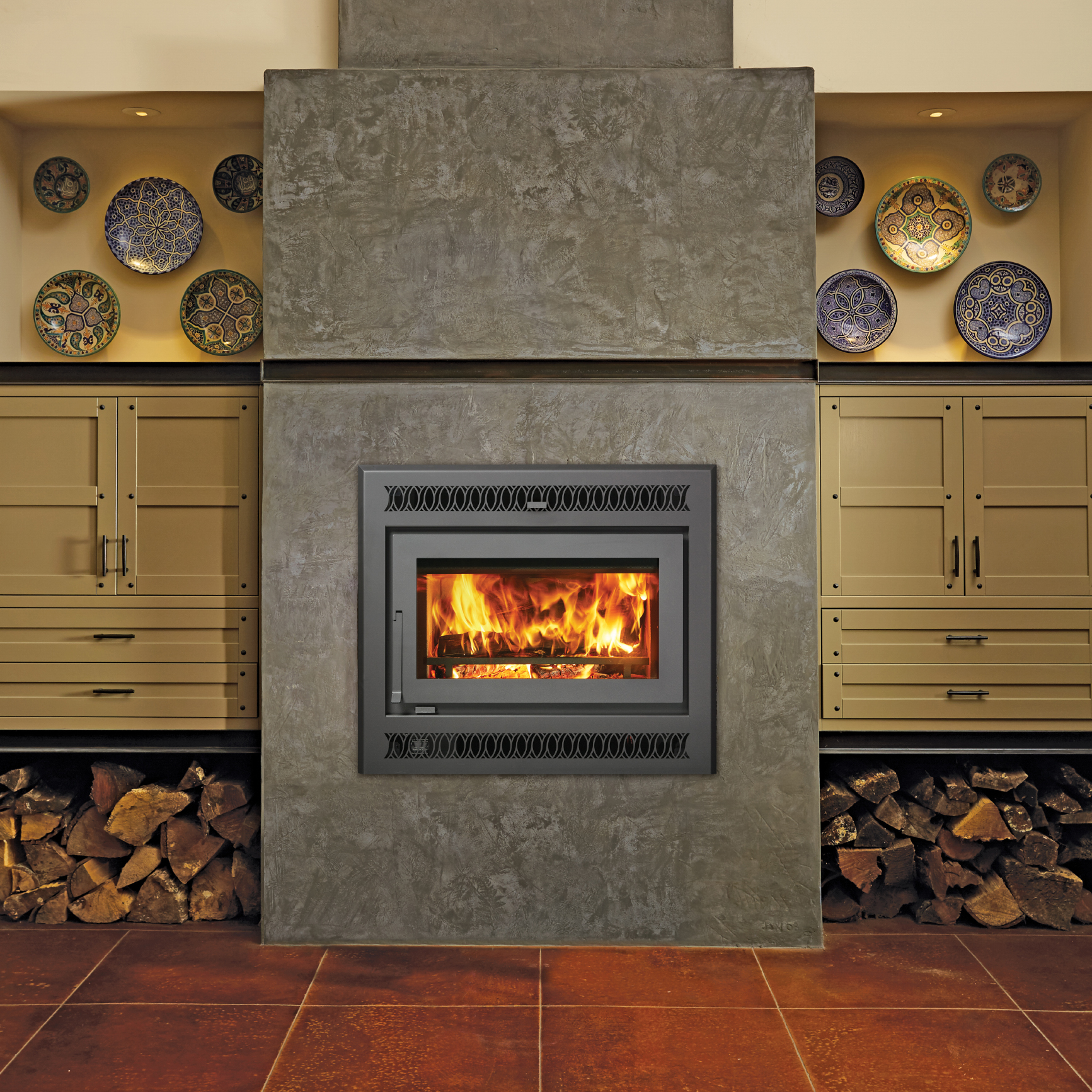 One more Image of the modern modern 42 Apex woodburning fireplace featuring a traditional face.