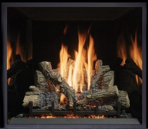 This is an image of a sleek ProBuilder 36 CF gas fireplace by Fireplace X featuring the Black Glass Interior