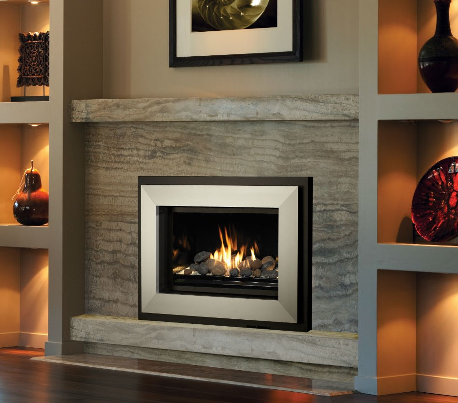 Image of the sleek 564 HO Gas Fireplace made by FireplaceX featuring a realistic stone set with glass media.