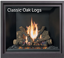 This is an image of a sleek ProBuilder 36 CF GSB gas fireplace by Fireplace X and standard classic oak log set