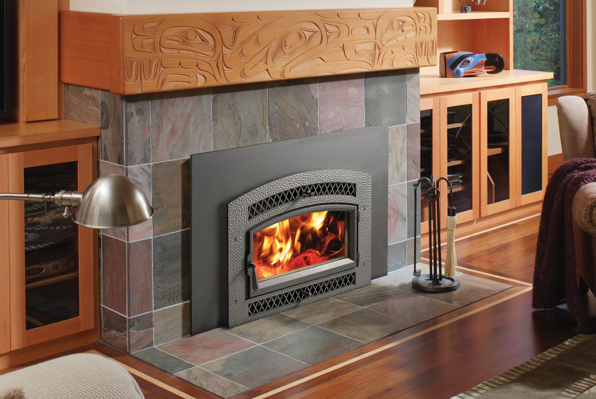 Image of a Medium Flush Wood Hybrid-Fyre by Fireplace X featuring a hand hammer Artisan Arch Face.
