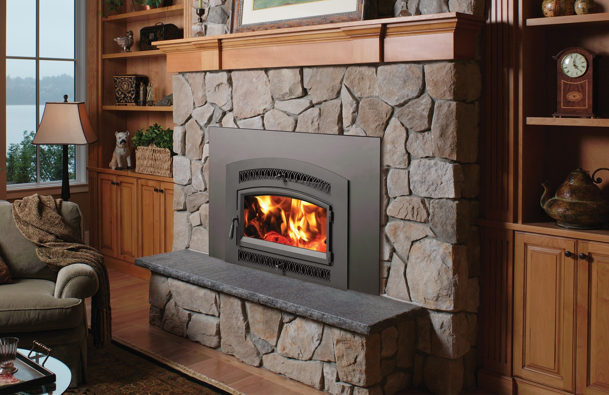Image of a Medium Flush Wood Hybrid-Fyre by Fireplace X featuring a Classic Arch Face