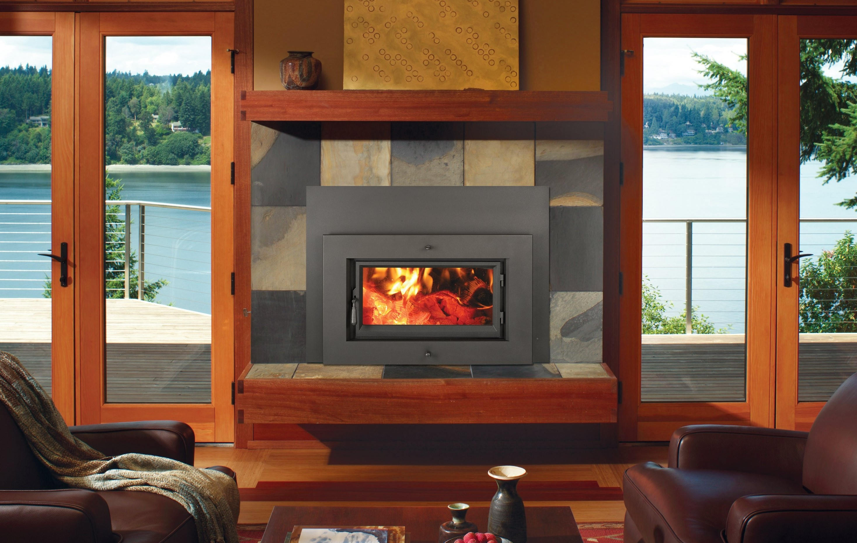 Image of a Medium Flush Wood Hybrid-Fyre by Fireplace X featuring a Shadowbox face