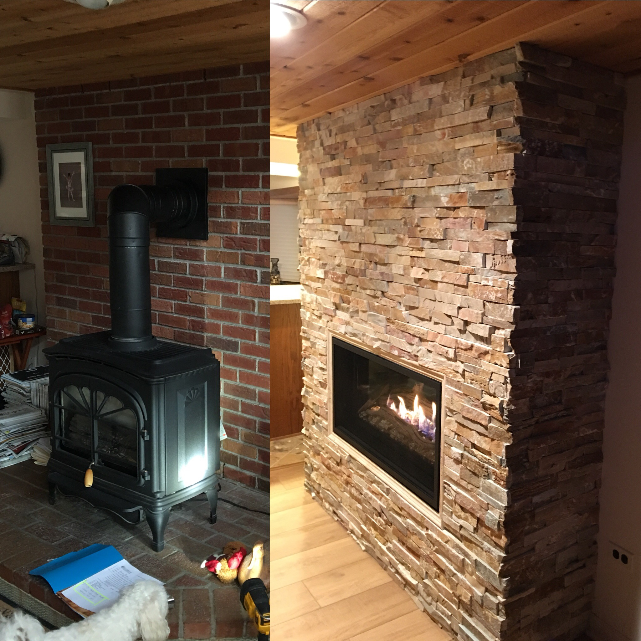 Image of a sleek Slayton 42 by Kozy Heat and the preexisting gas stove as the before.