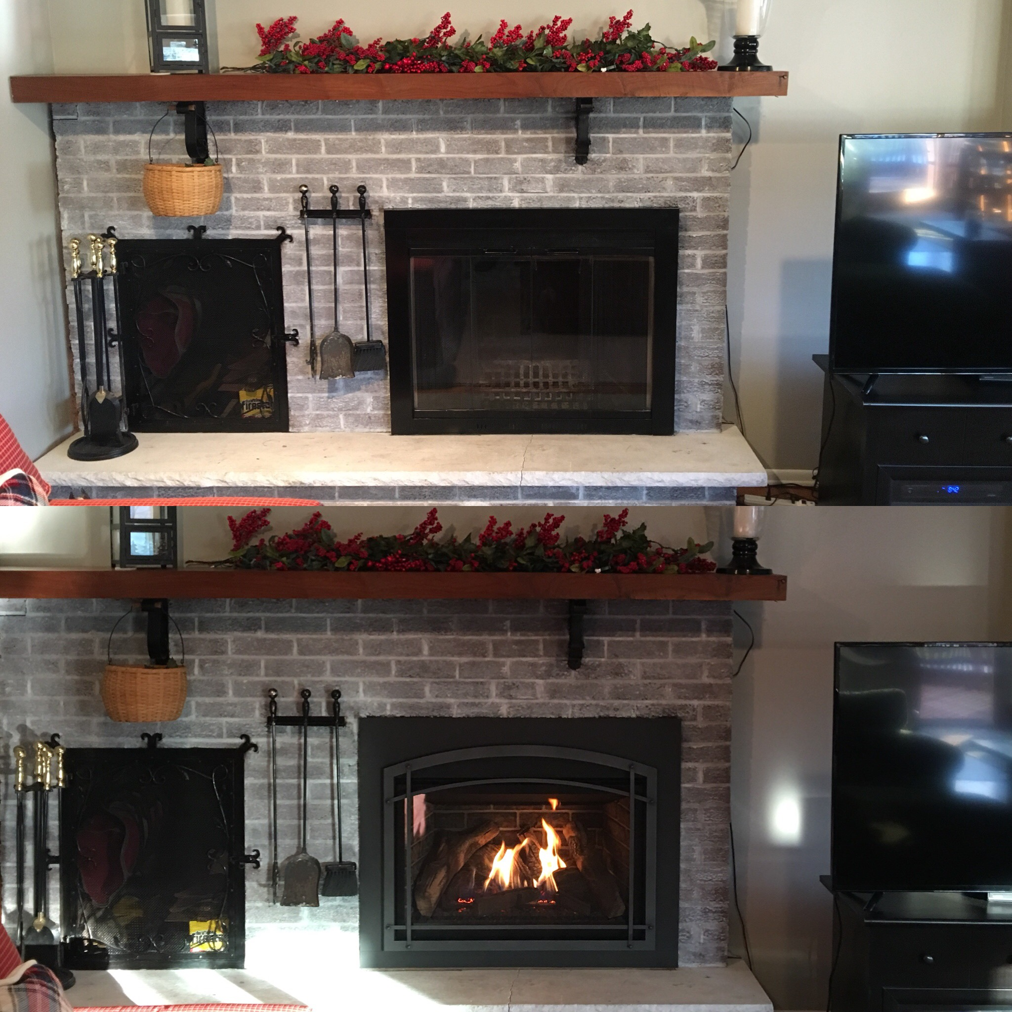 Image of a traditional Chaska 34-Log by Kozy Heat and the preexisting masonry fireplace as the before.