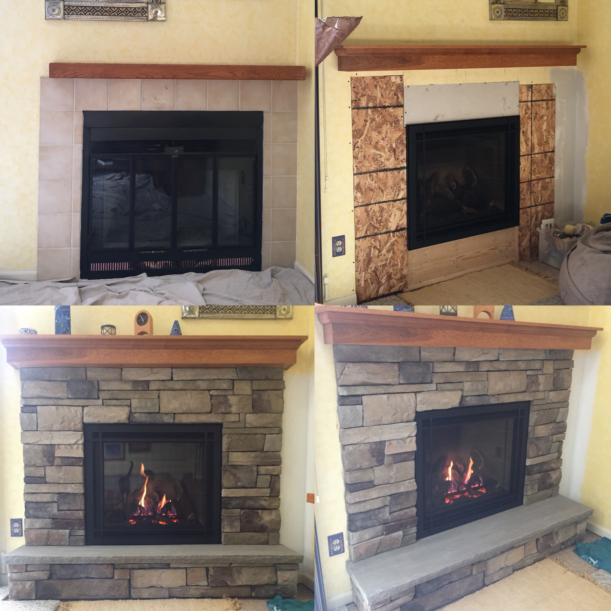 Image of a traditional Bayport 36-L by Kozy Heat and the preexisting wood fireplace as the before.