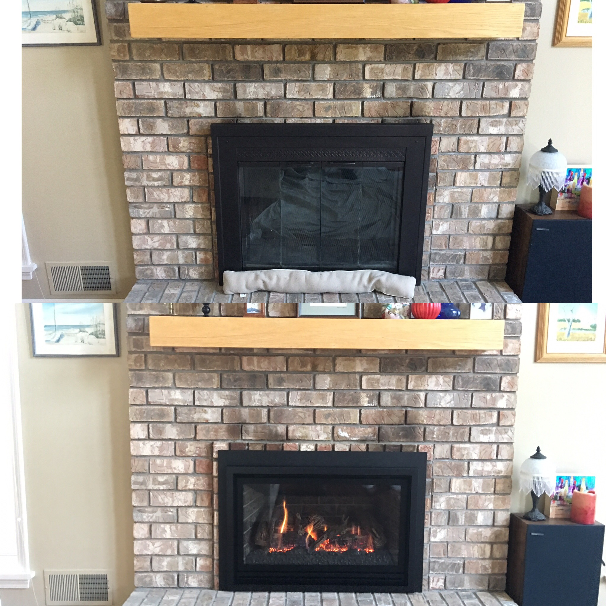 Image of a traditional Chaska 335s by Kozy Heat and the preexisting masonry fireplace as the before.