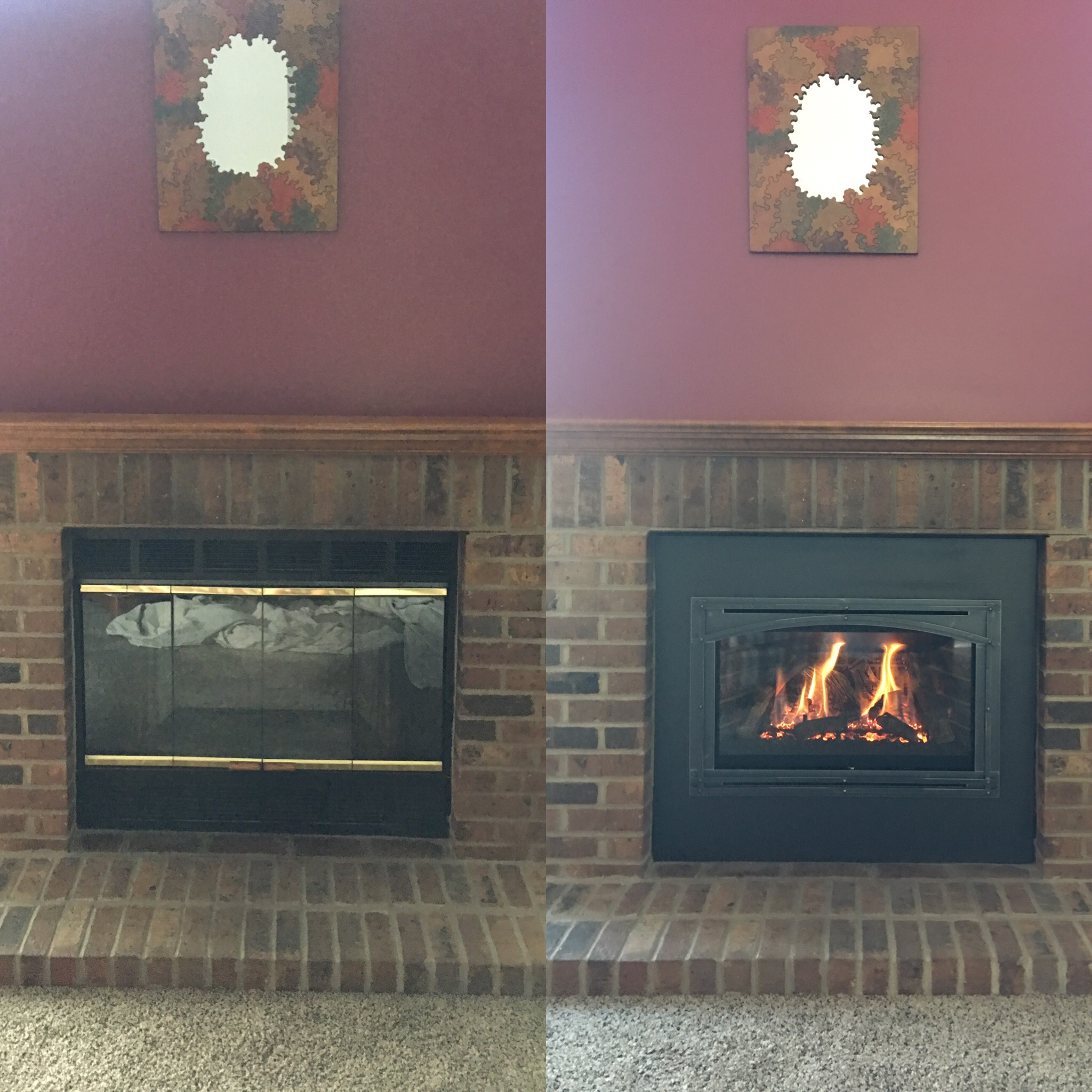 Image of a traditional Chaska 29-Log by Kozy Heat and the preexisting wood fireplace as the before.