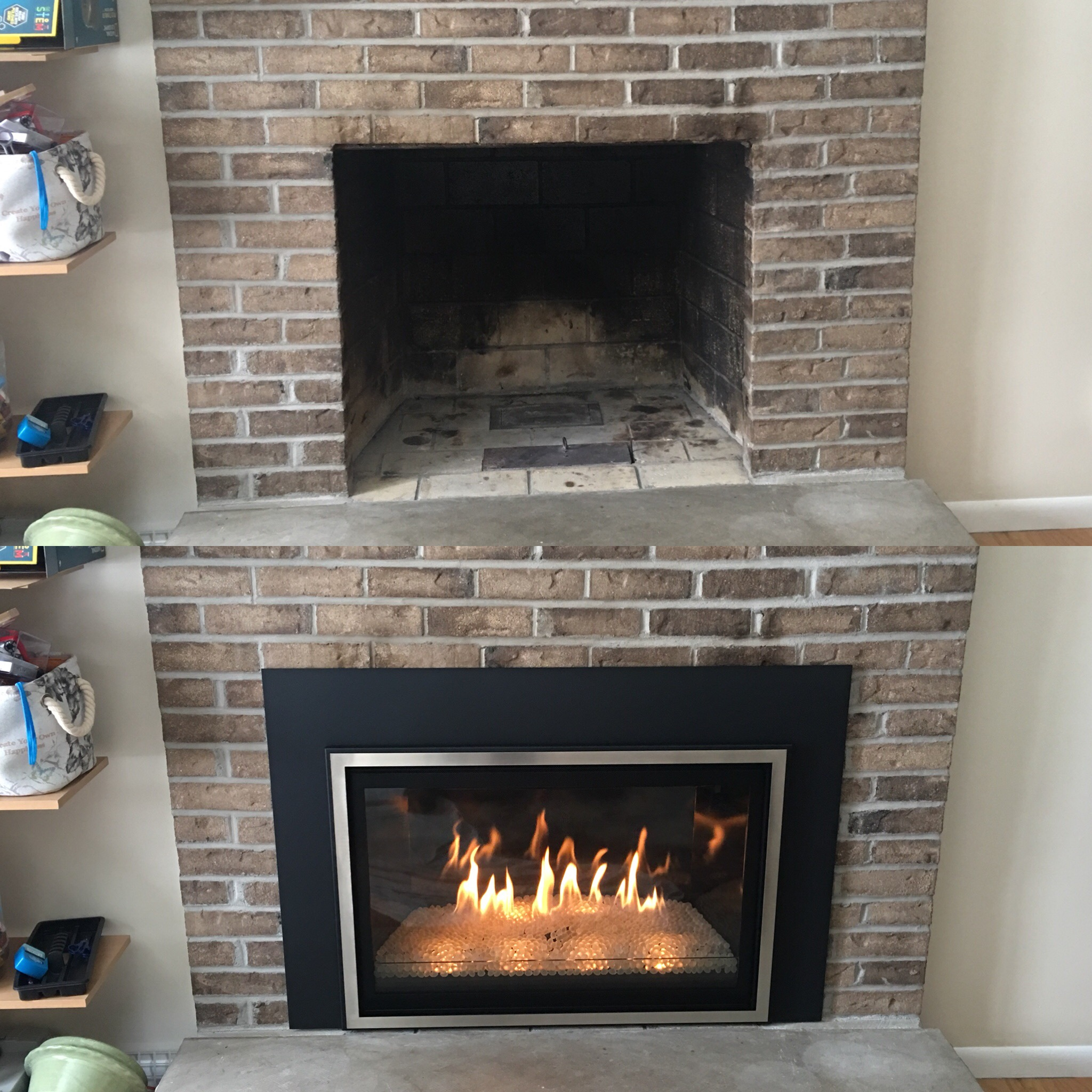 Image of a contemporary Chaska 34-Glass by Kozy Heat and the preexisting masonry fireplace as the before.