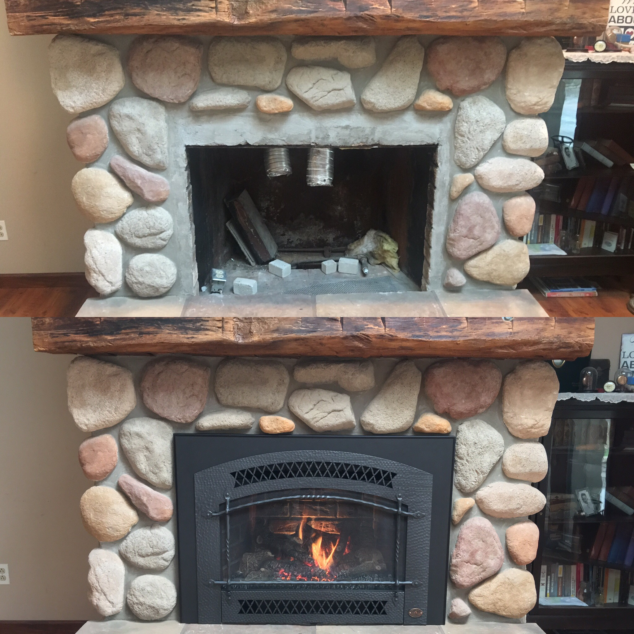 Image of a traditional 34DVL gas insert by Fireplace Xtordinair and the preexisting masonry fireplace as the before.