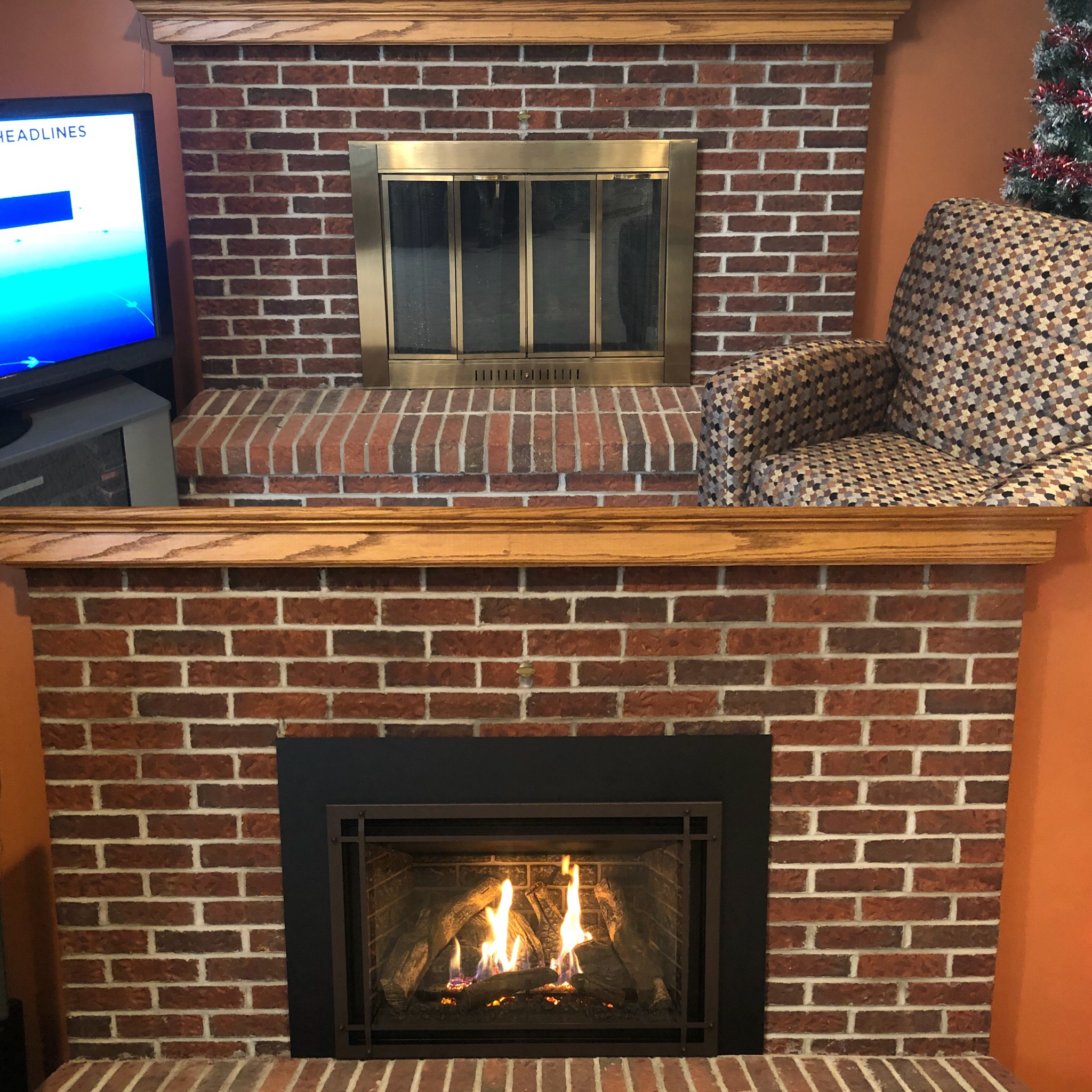 Image of a traditional Chaska 34 by Kozy Heat and the preexisting masonry fireplace as the before.