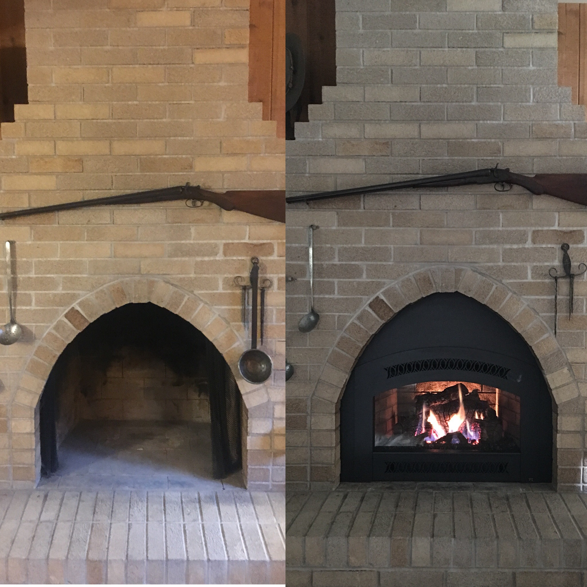Image of a traditional 32DVS gas insert by Fireplace Xtordinair and the preexisting masonry fireplace as the before.