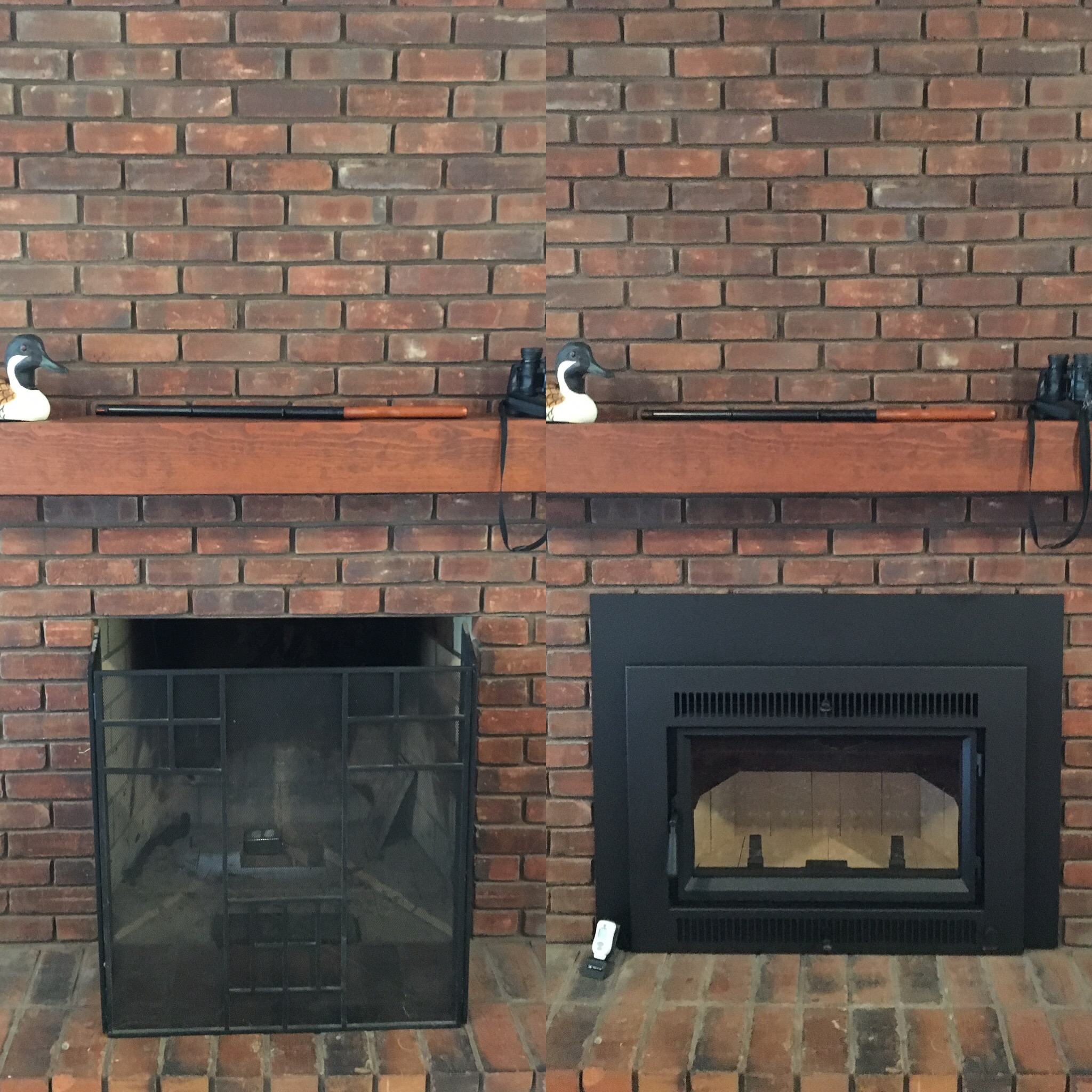 Image of a traditional Large FLush Hybrid-Fyre wood insert by Fireplace Xtordinair and the preexisting masonry fireplace as the before.