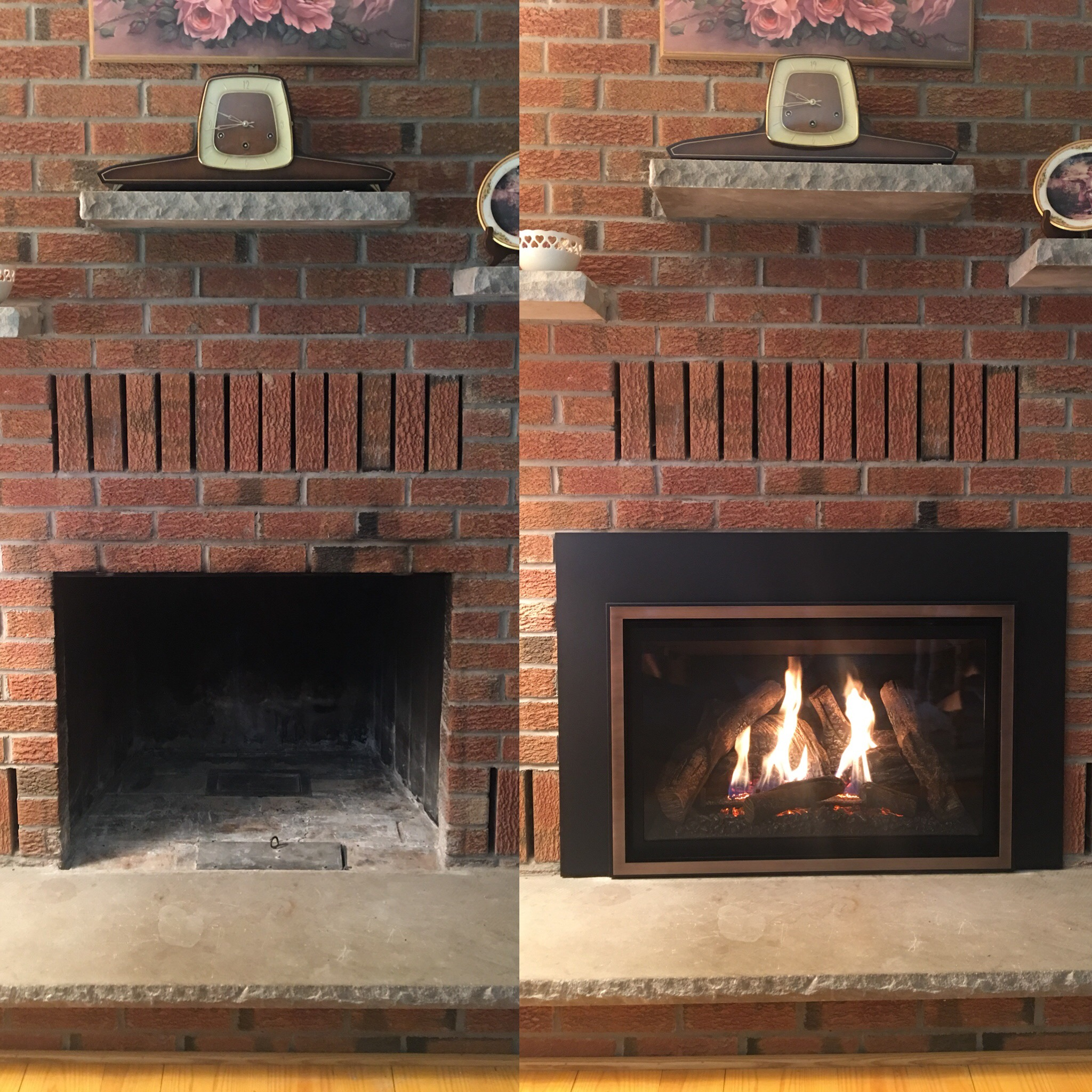Image of a traditional chaska 34-log gas insert by Kozy Heat and the preexisting masonry fireplace as the before.