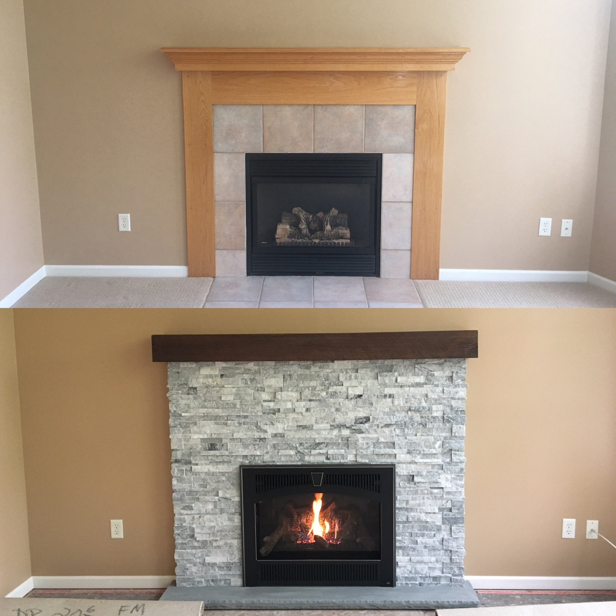 Image of a traditional 564 HighOutput gas fireplace by Fireplace X featuring traditional tile facing and mantle.