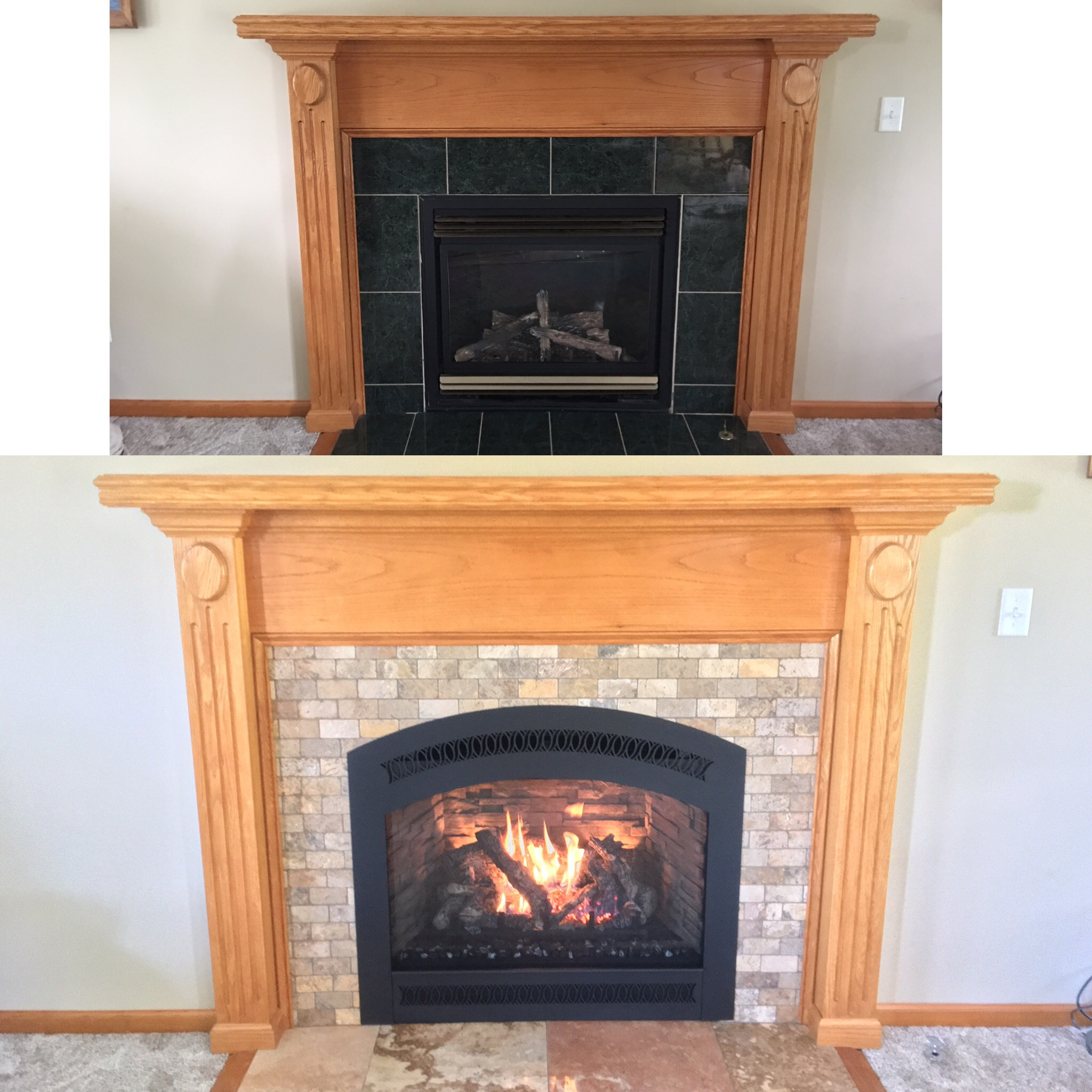 Image of a traditional 864TRV gas fireplace by FireplaceX and the preexisting gas fireplace as the before.