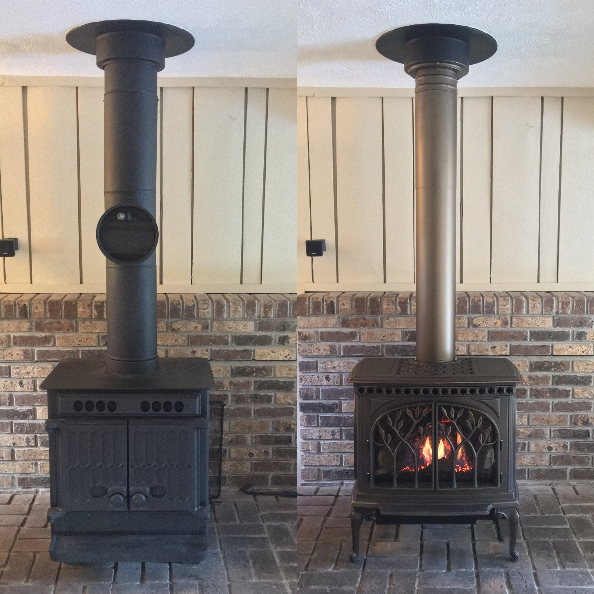 Image of a traditional Tree of Life gas stove by Travis Industries and the preexisting wood stove as the before.