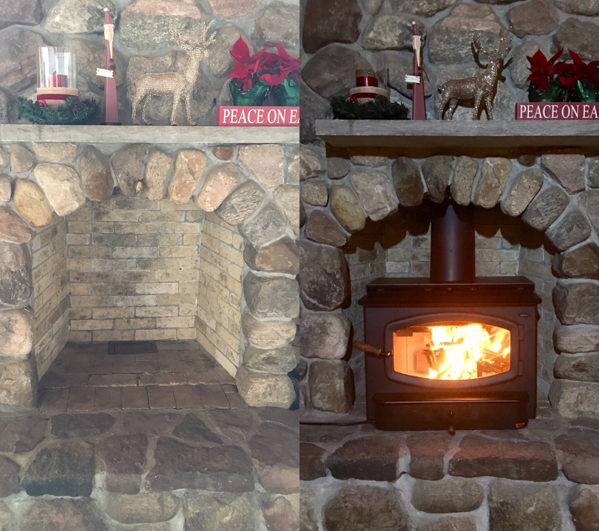 Image of a traditional Olympic wood stove by Travis Industries and the preexisting masonry fireplace as the before.