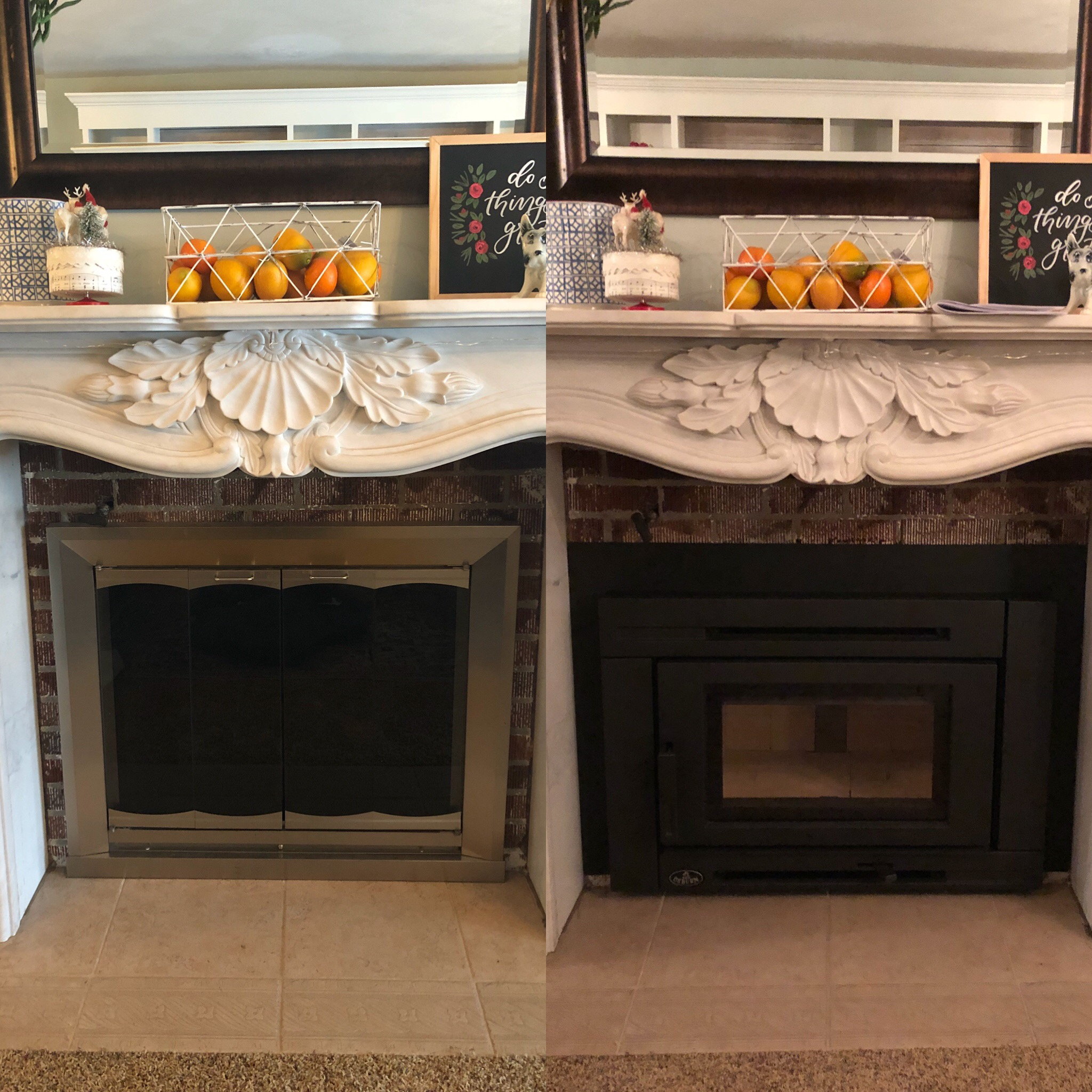 Image of a traditional Matrix wood insert by Osburn and the preexisting masonry fireplace as the before.