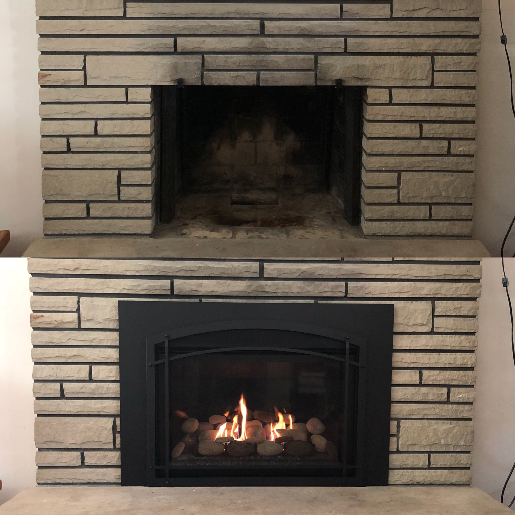 Image of a contemporary Chaska 34-Rock by Kozy Heat and the preexisting masonry fireplace as the before.