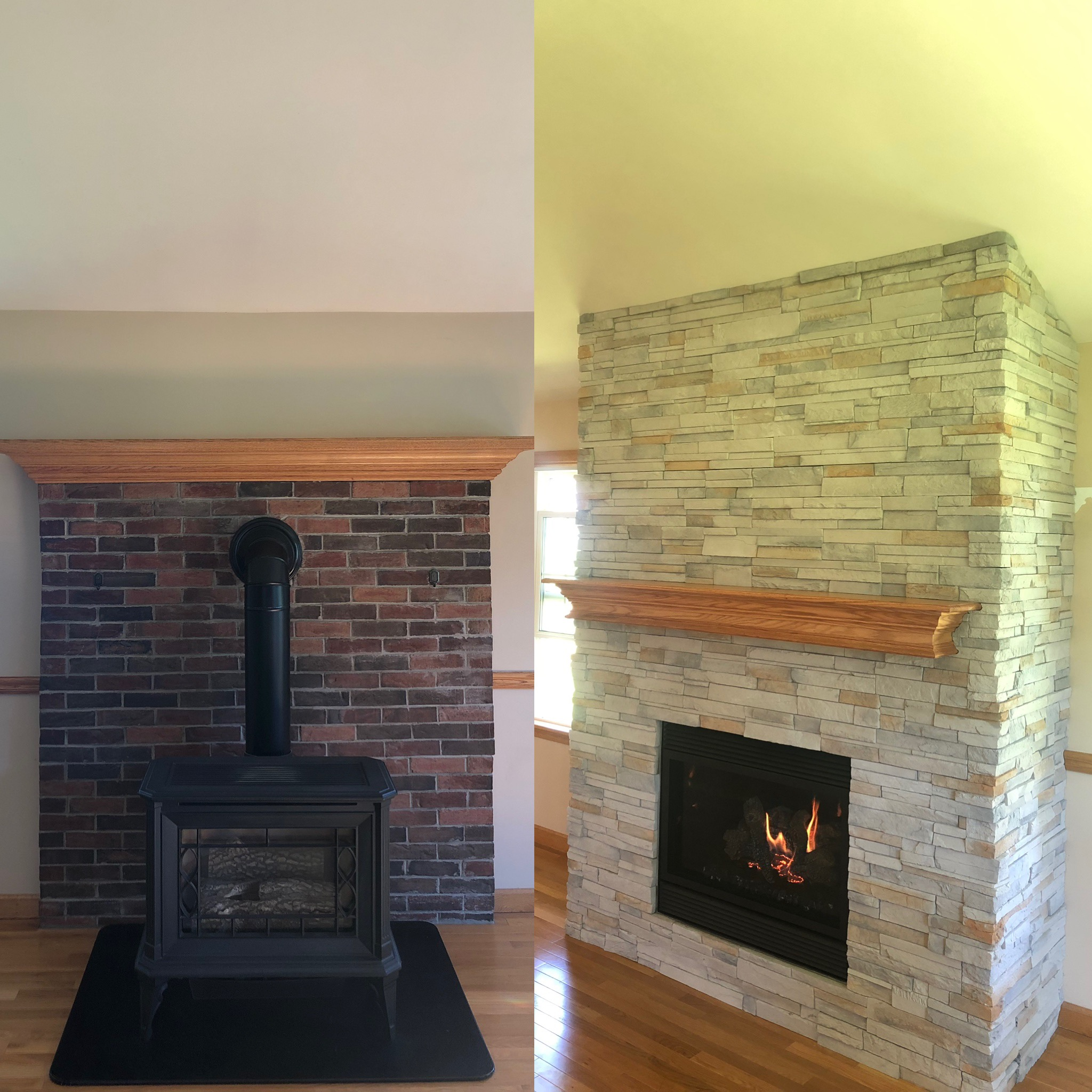 Image of a sleek 564 SpaceSaver by FireplaceX and the preexisting gas stove as the before.