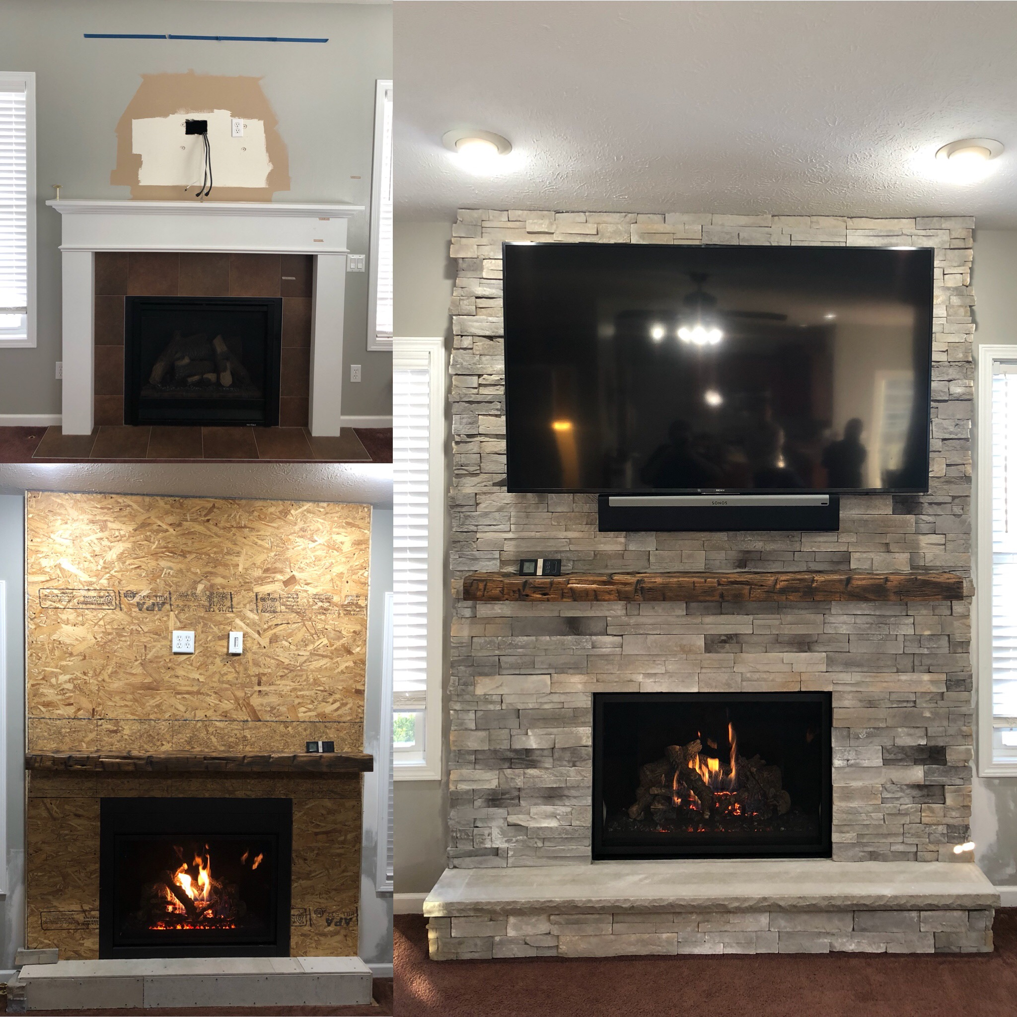 Image of a traditional 864TV 40K CleanFace gas fireplace by Fireplace Xtrodinair featuring rustic stonework facing.