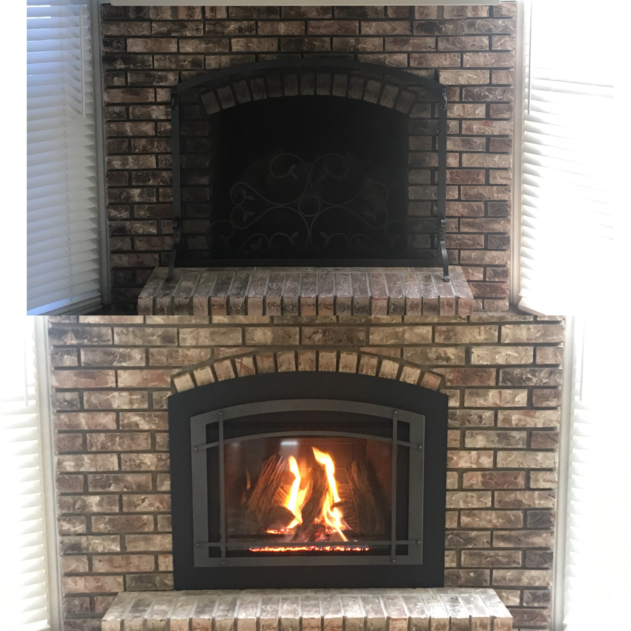 Image of a traditional Jordan 30 gas insert by Kozy Heat and the preexisting masonry fireplace as the before.