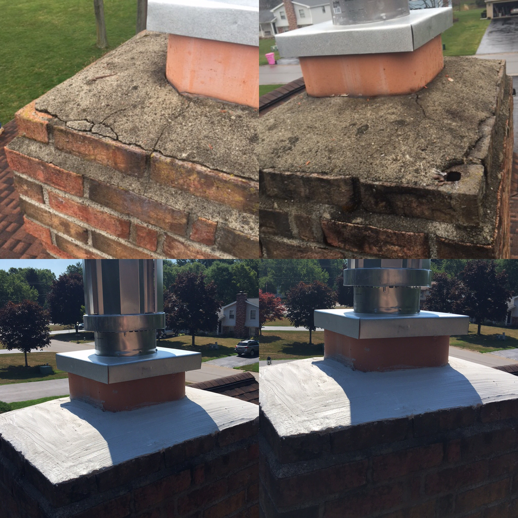 Image of a finished repair Crown using CrownSeal product and the preexisting damaged masonry chimney as the before.