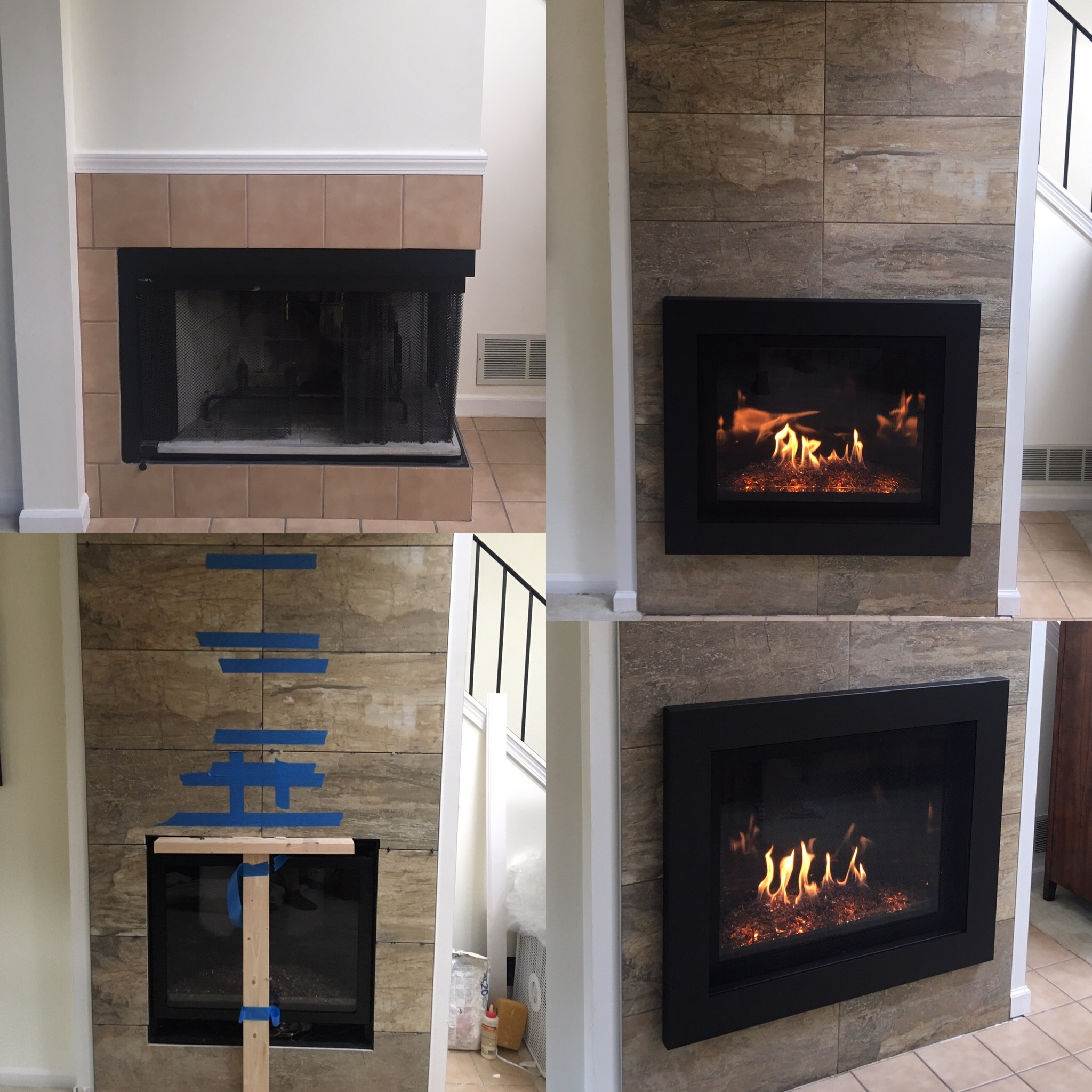 Image of a contemporary Delano 36 gas fireplace by Kozy Heat and the preexisting wood fireplace as the before.