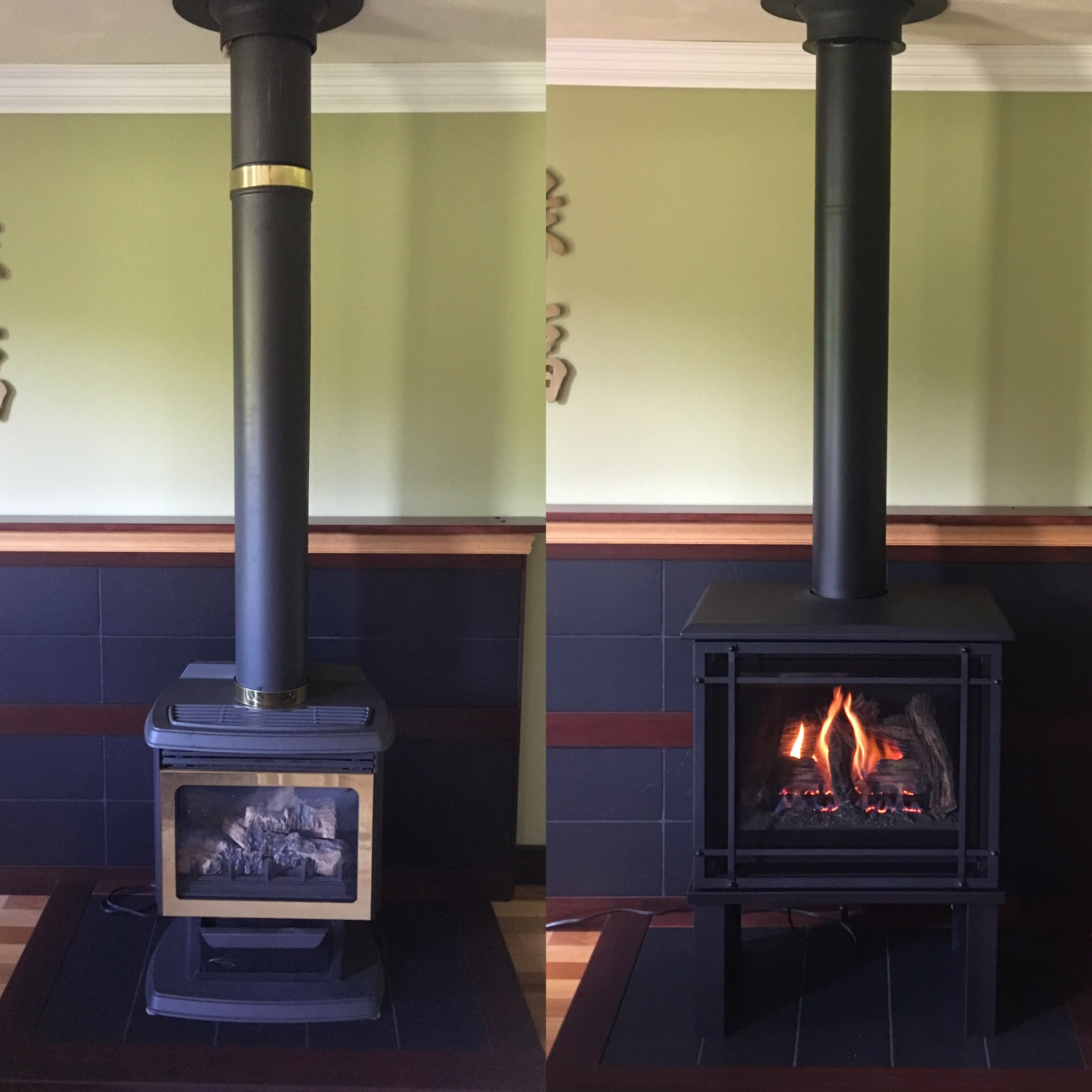 Image of a traditional Birchwood 20 gas stove by Kozy Heat and the preexisting gas stove as the before.