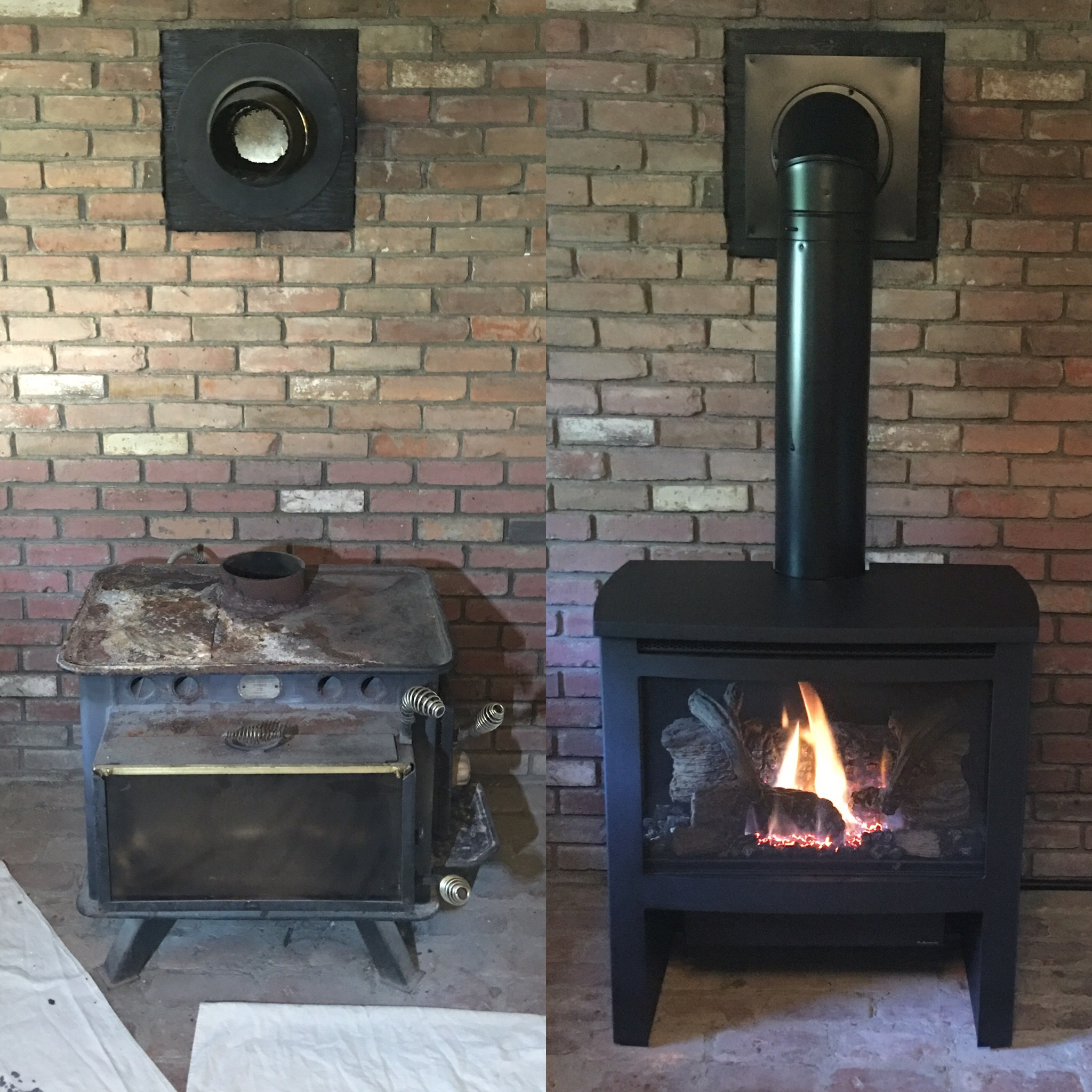Image of a traditional Cypress gas stove by Travis Industries and the preexisting wood stove as the before.