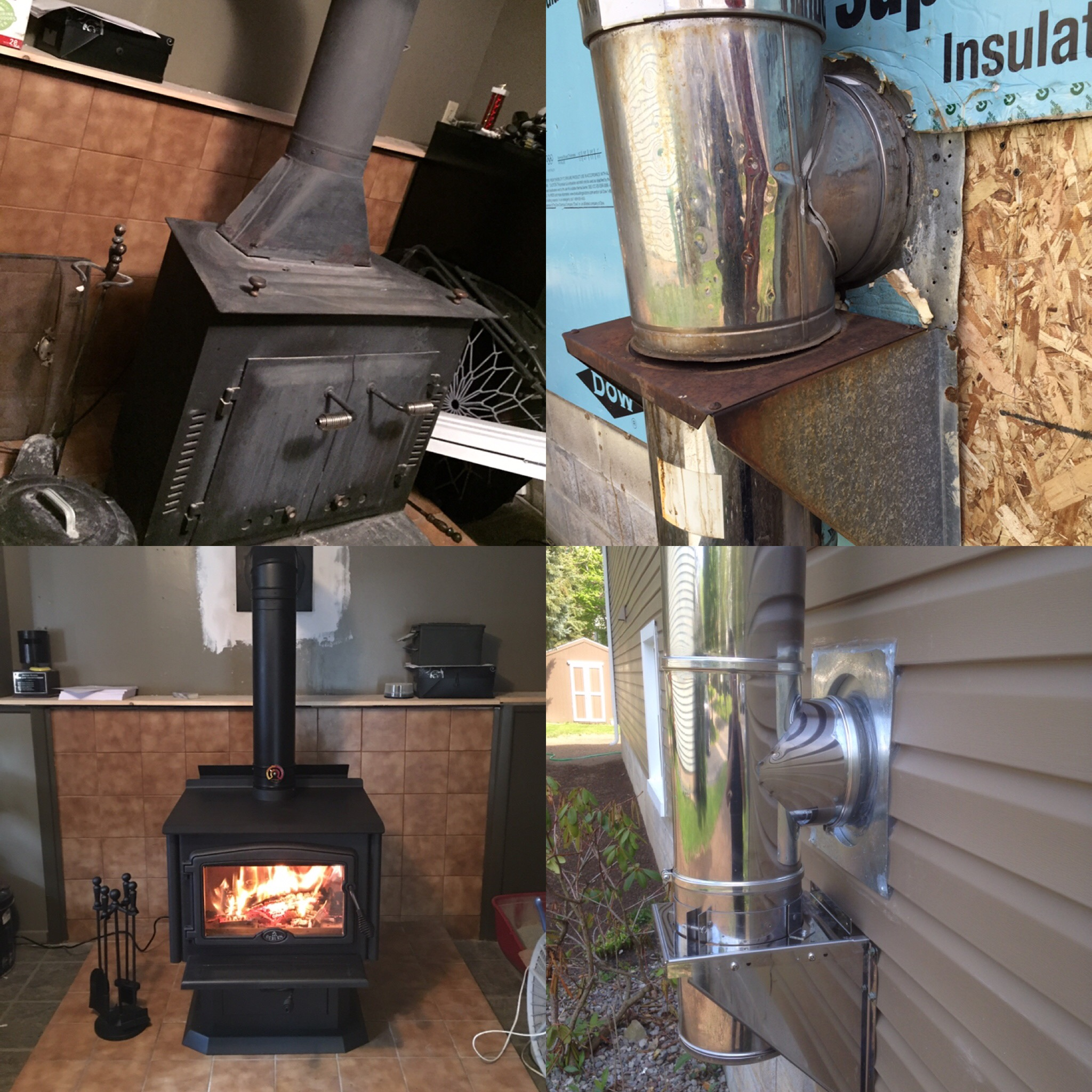 Image of a traditional 2000 wood stove by Osburn and the preexisting wood stove as the before.