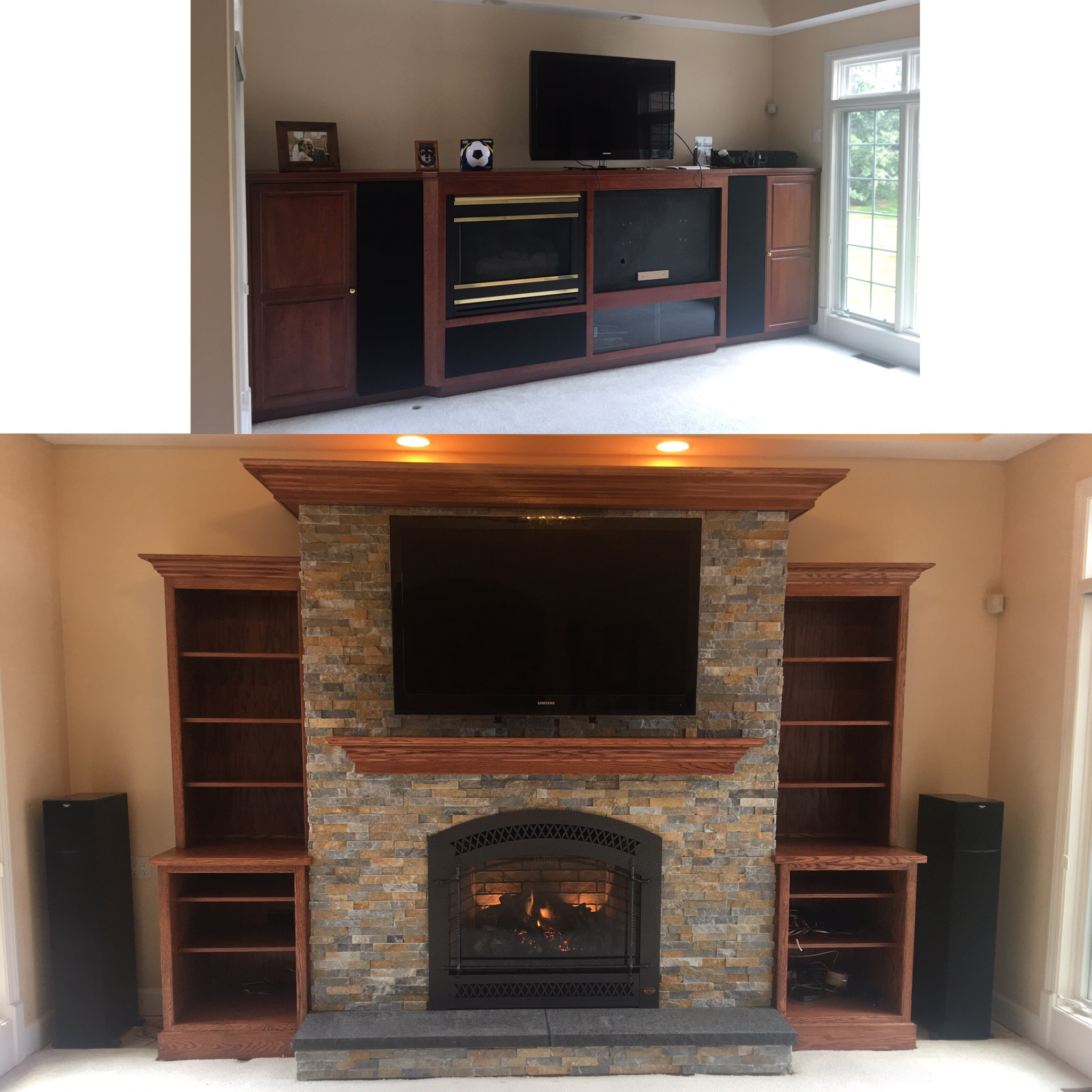 Image of a traditional 864TRV by Fireplace Xtordinair and the preexisting gas fireplace as the before.