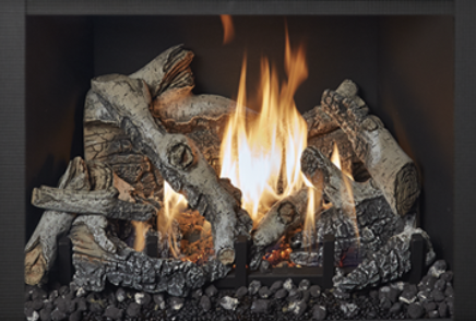 Image of the large 616 gas insert by Travis Industries featuring realistic Birch Logs.