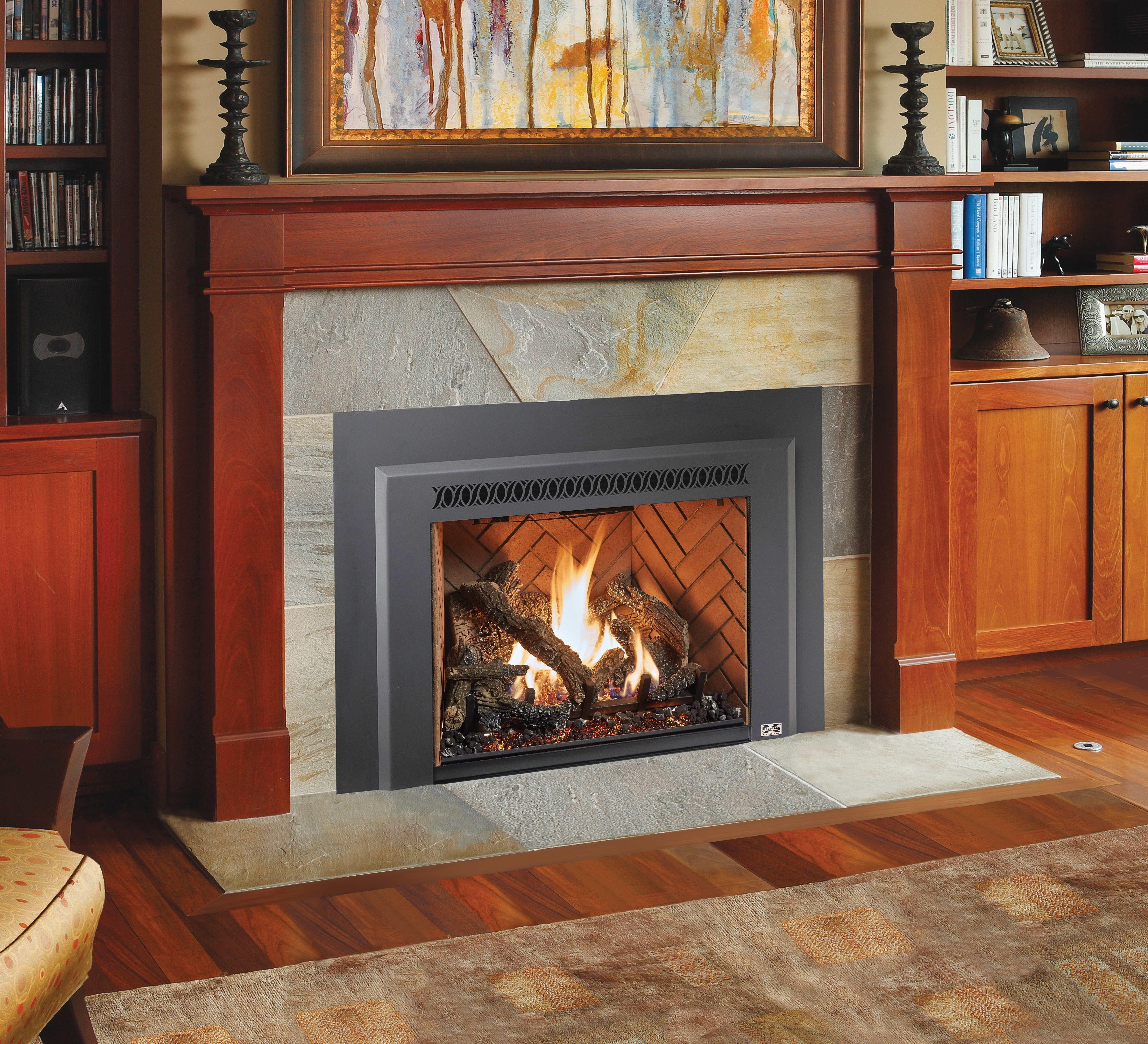 Image of a 616 Dancing-Fyre Insert by Travis Industries featuring Traditional Logs