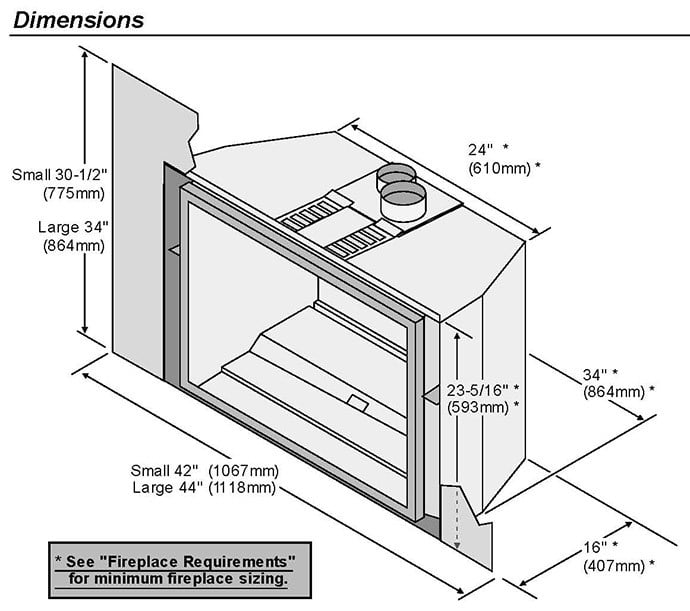 Image of the 616 by Fireplace Xtordinair and manufacturer's dimensions