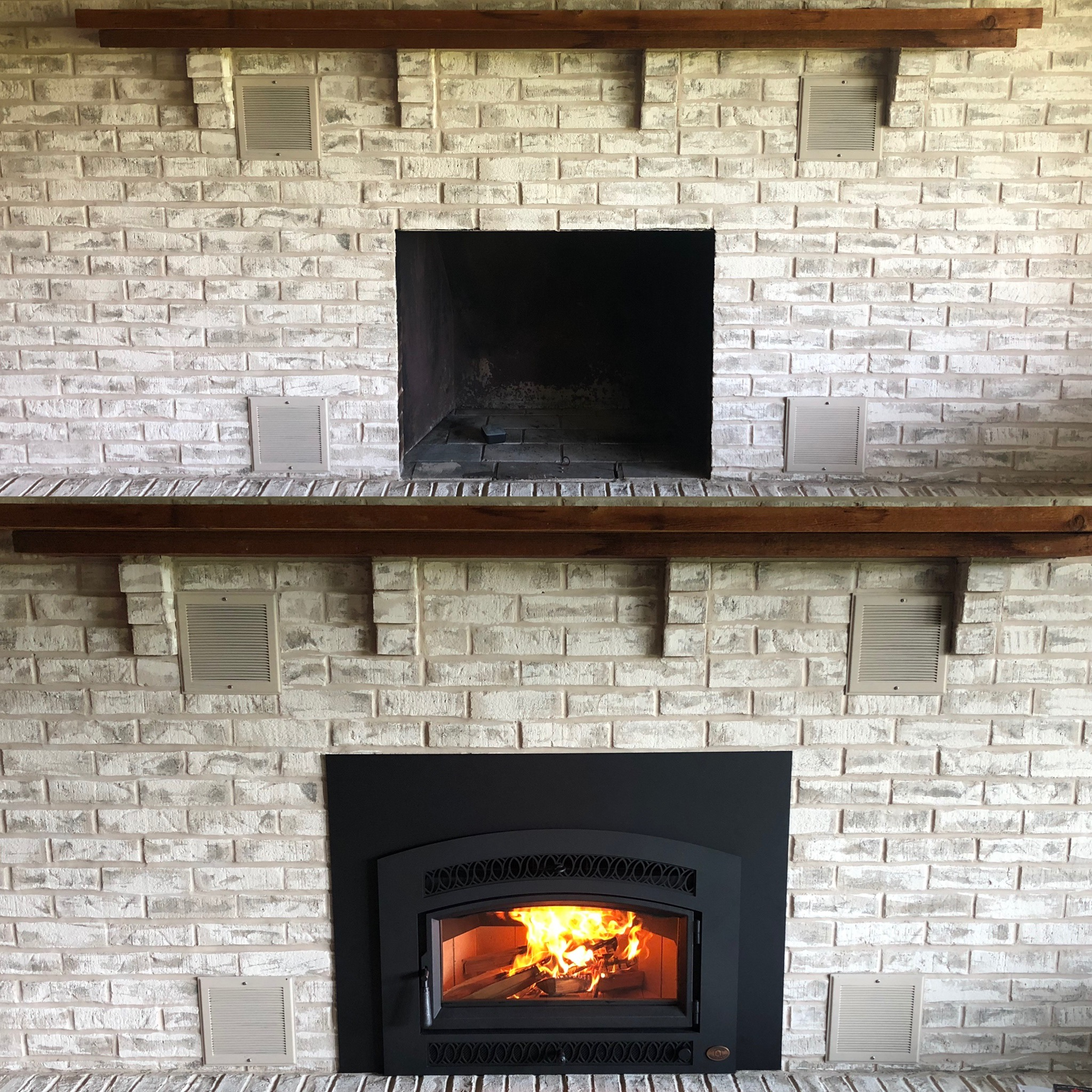 Image of a traditional Medium Flush Hybrid-Fyre wood insert by Travis Industries and the preexisting masonry fireplace as the before.