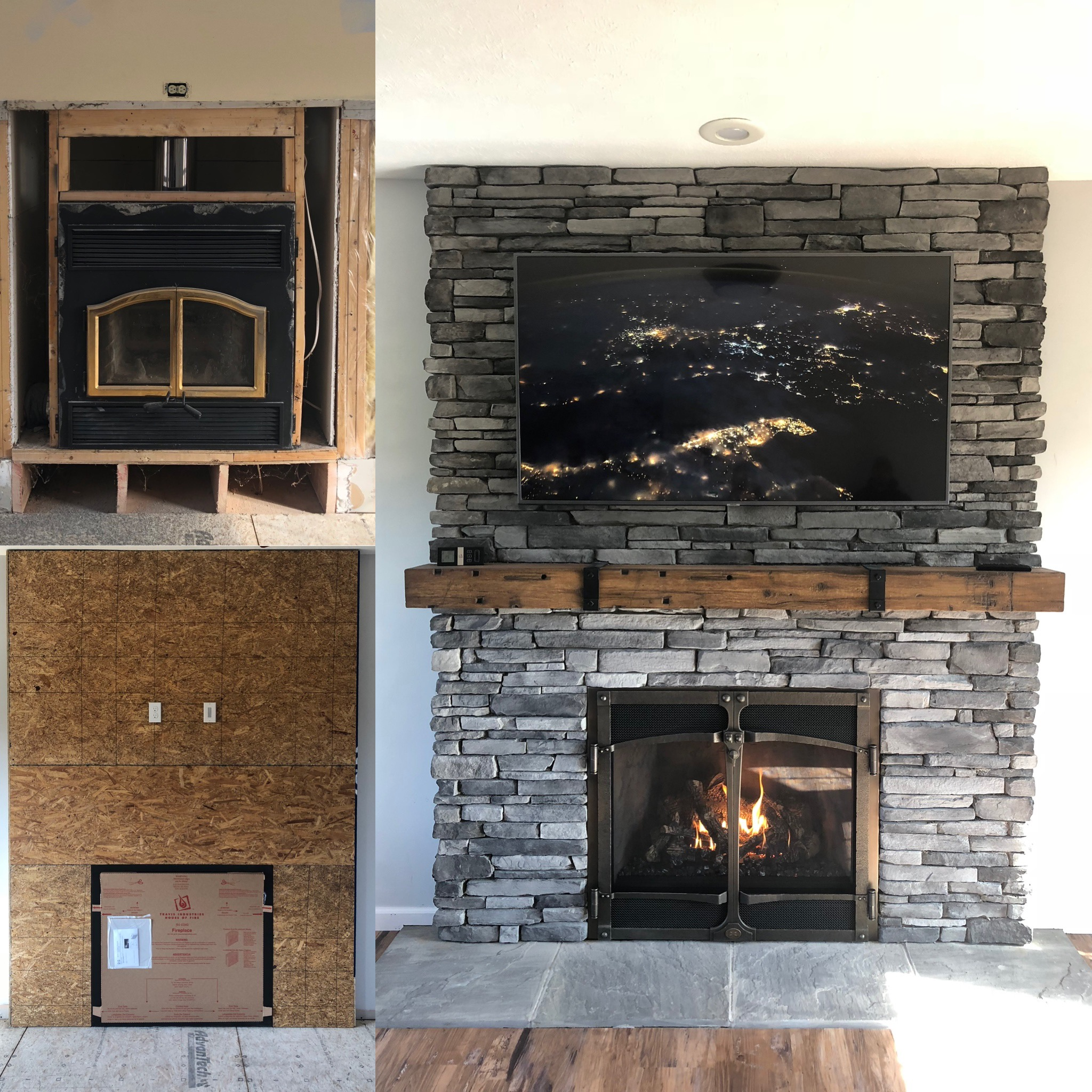 Image of a traditional 864TRV by Travis Industries featuring rustic stone and MagraHearth Mantle.